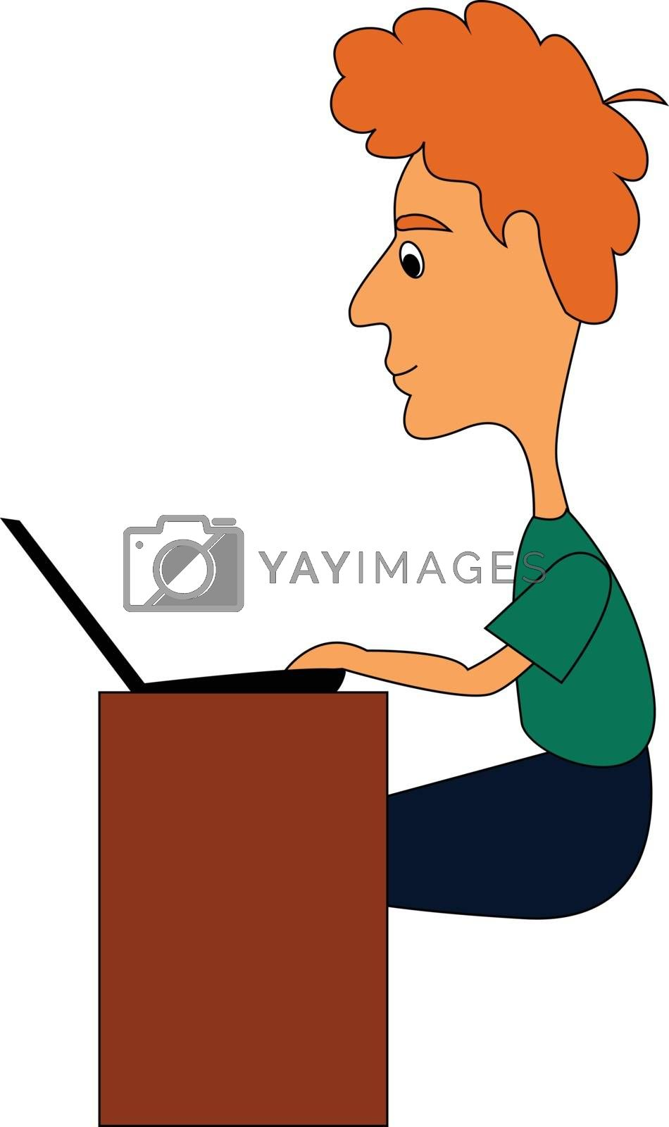 Royalty free image of Clipart of an officer at work in his office hours before the lap by Morphart