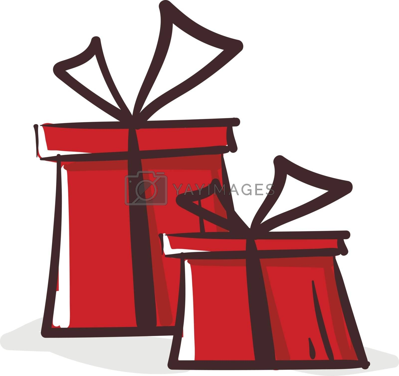Royalty free image of Clipart of two red-colored rectangular gift boxes vector or colo by Morphart