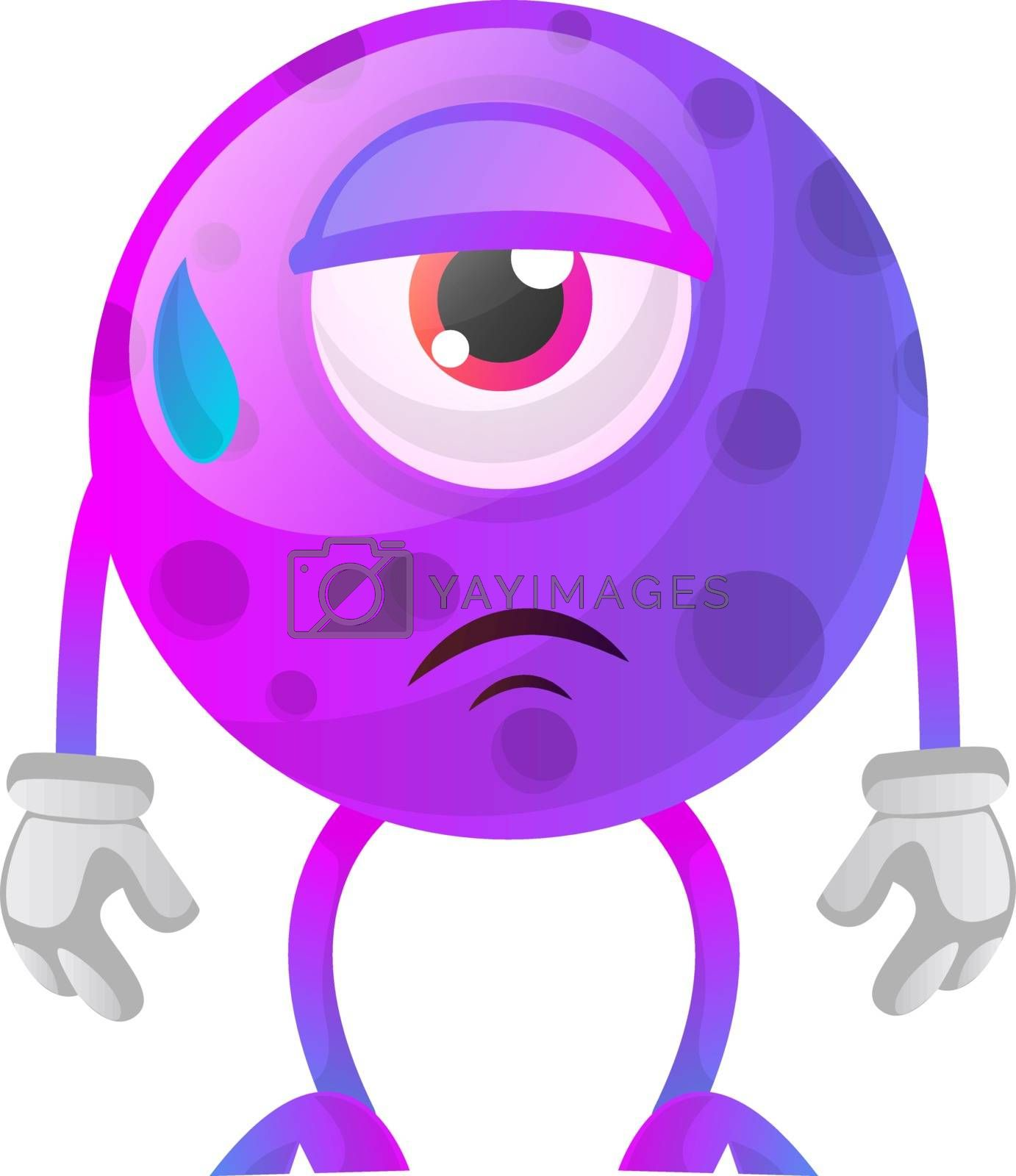 Royalty free image of Tired one eyed monster illustration vector on white background by Morphart