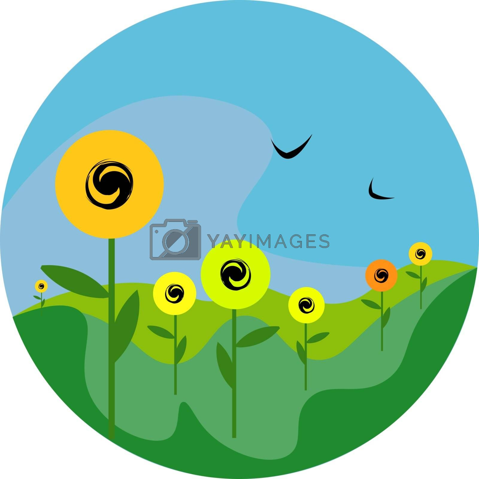 Royalty free image of Portrait of sunflowers in a field vector or color illustration by Morphart