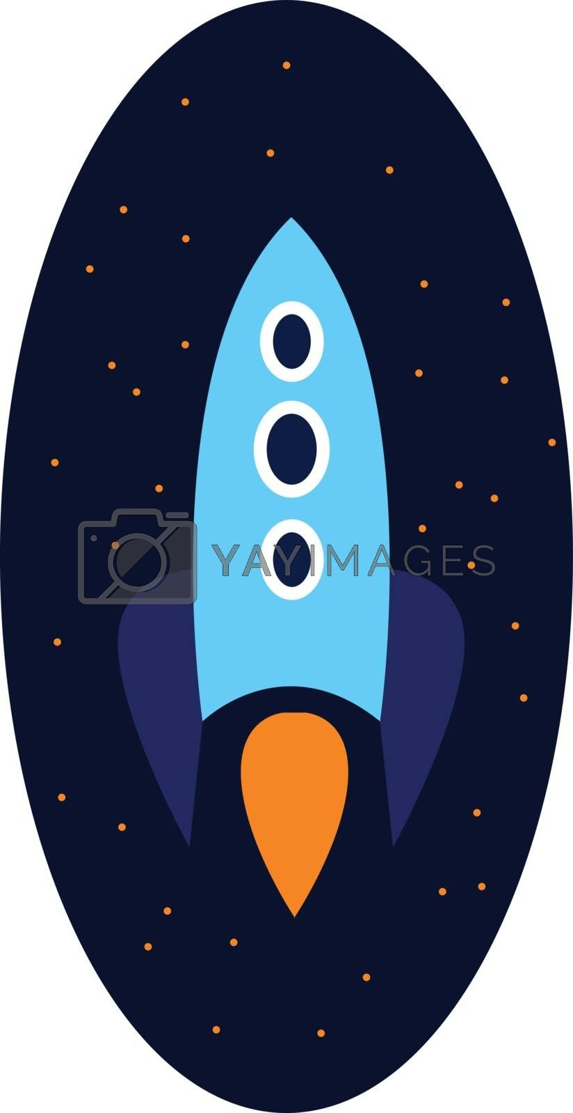 Royalty free image of Clipart of a rocket over dark-blue background vector or color il by Morphart