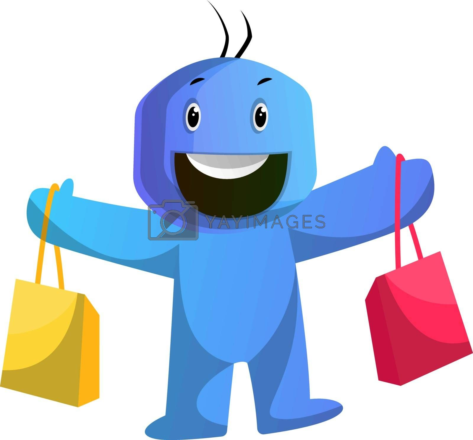 Royalty free image of Blue cartoon caracter holding shoping bags illustration vector o by Morphart