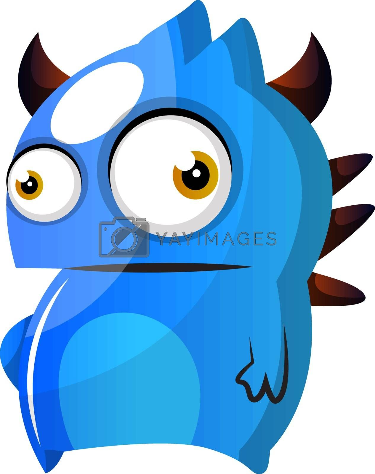 Royalty free image of Blue monster with horns illustration vector on white background by Morphart