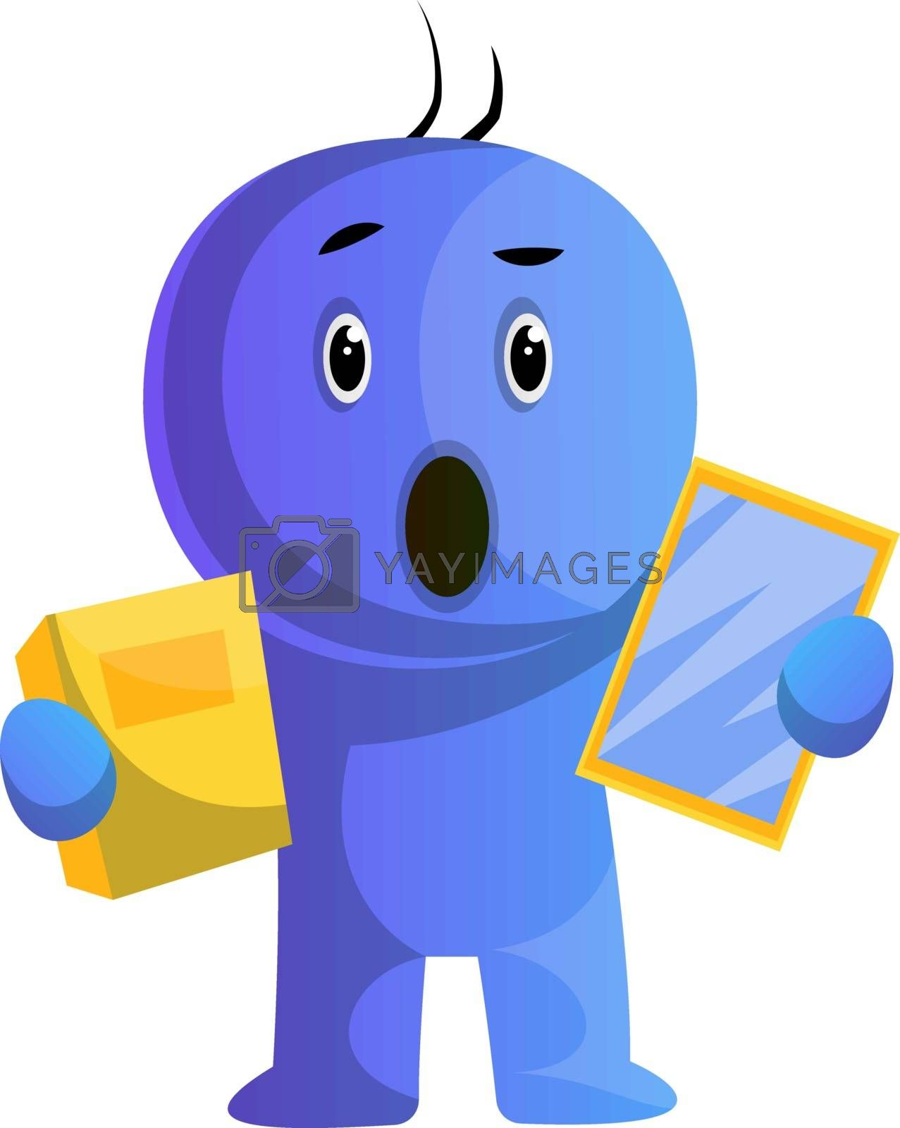 Royalty free image of Blue cartoon caracter surprised face illustration vector on whit by Morphart