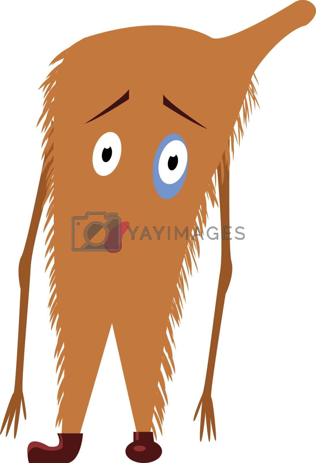 Royalty free image of Emoji of a sad brown-colored monster set on isolated white backg by Morphart