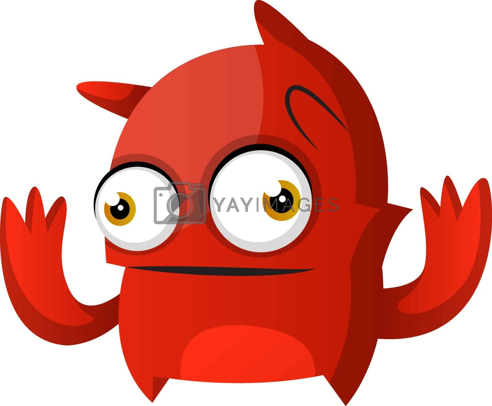 Royalty free image of Red monster with hands up illustration vector on white backgroun by Morphart