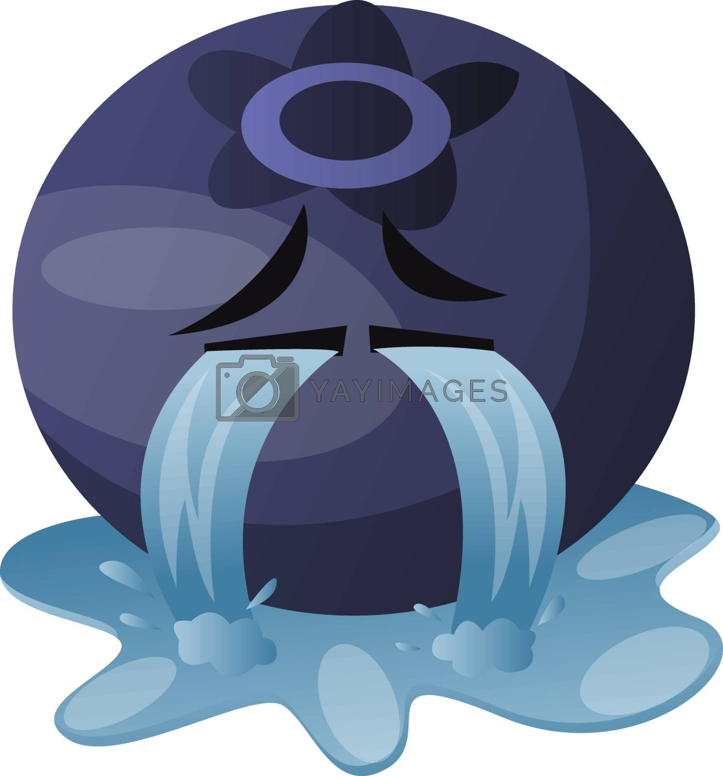 Royalty free image of Blueberry crying illustration vector on white background by Morphart