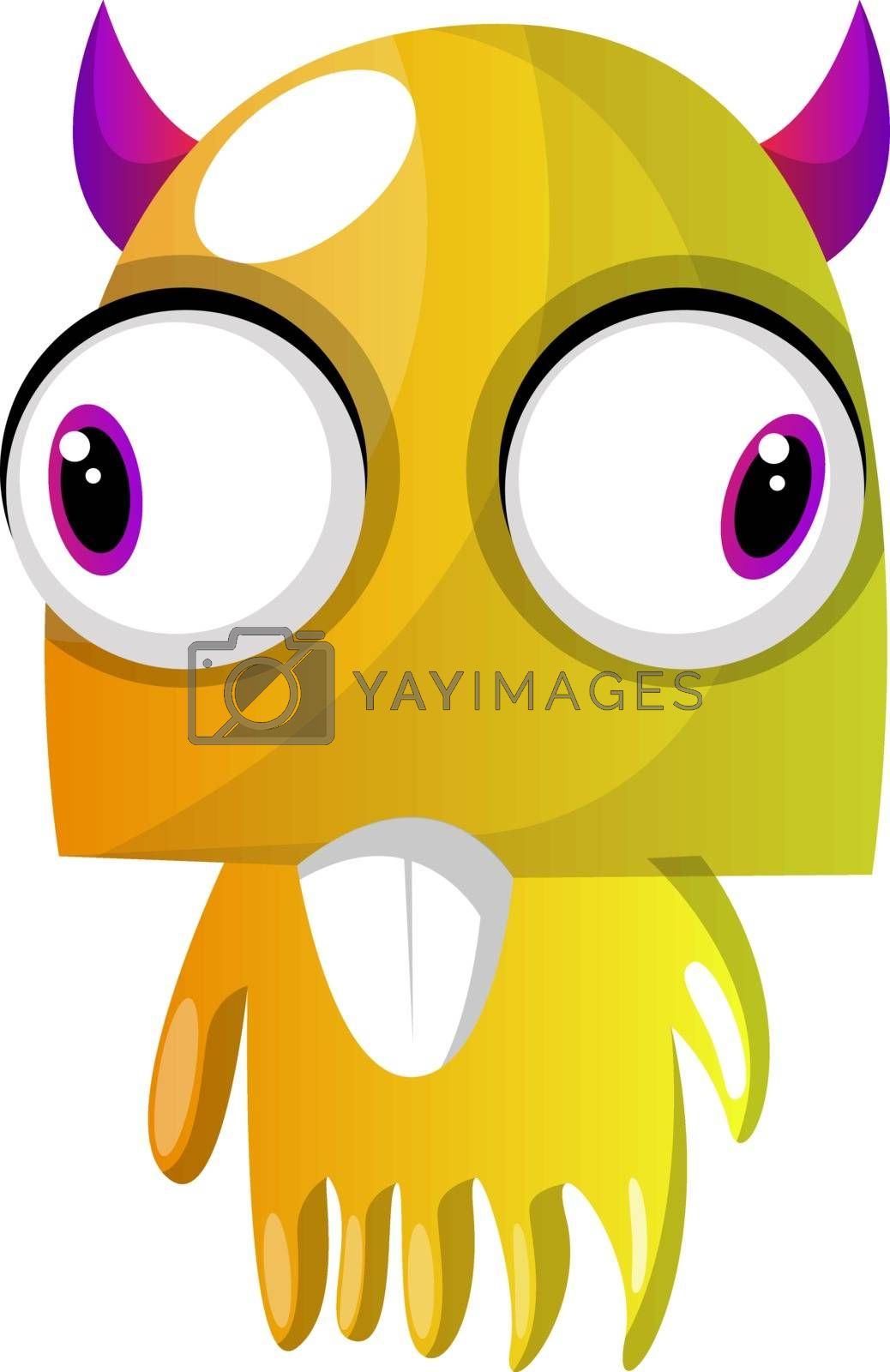 Royalty free image of Yellow monster with pink horns and big eyes illustration vector  by Morphart