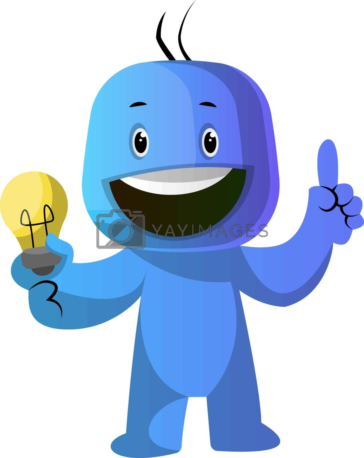 Royalty free image of Blue cartoon caracter with lightbulb illustration vector on whit by Morphart