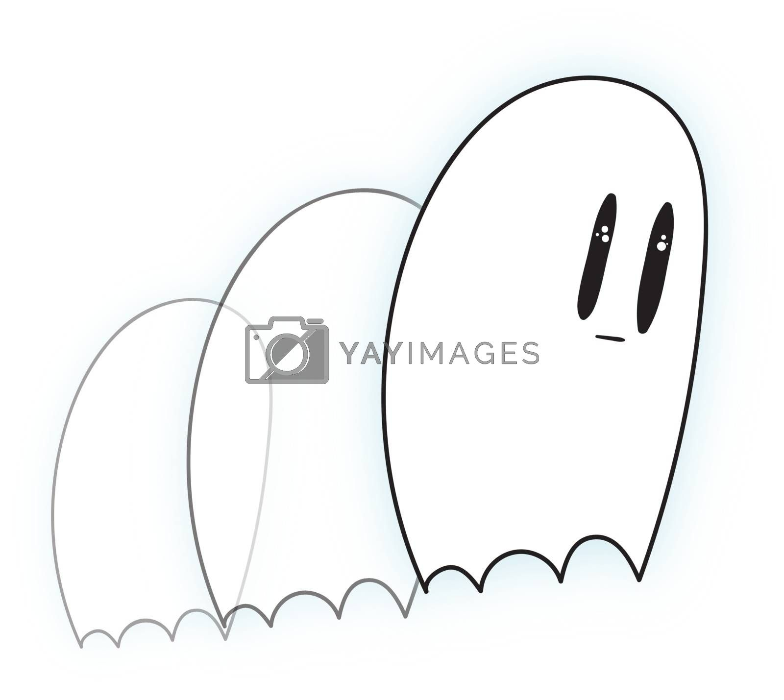 Royalty free image of Emoji of a sad white-colored ghost set on isolated white backgro by Morphart