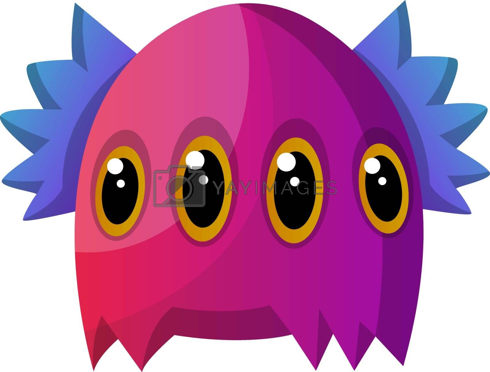 Royalty free image of Purple monster with four eyes illustration vector on white backg by Morphart