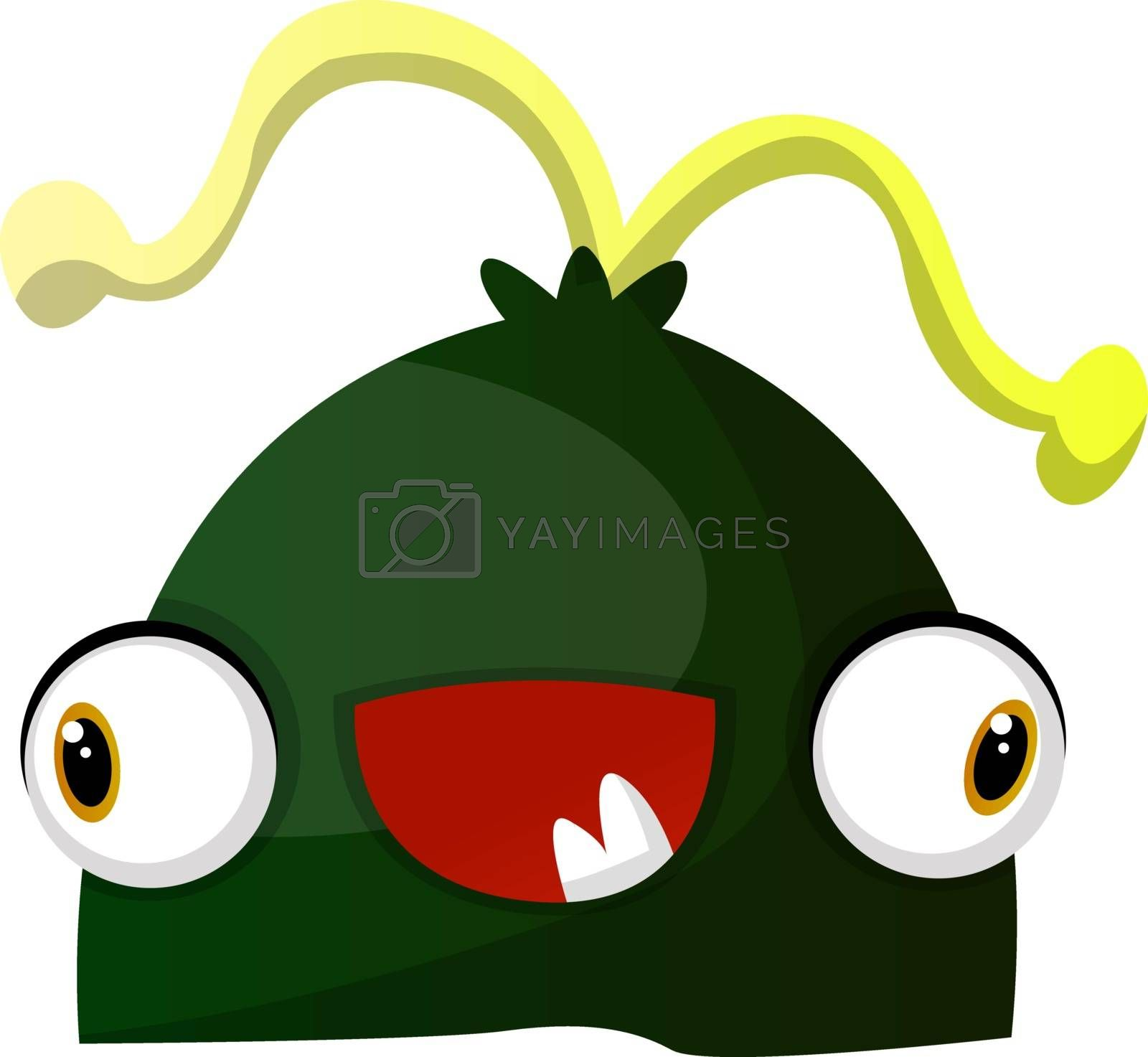 Royalty free image of Happy green monster with yellow hair illustration vector on whit by Morphart