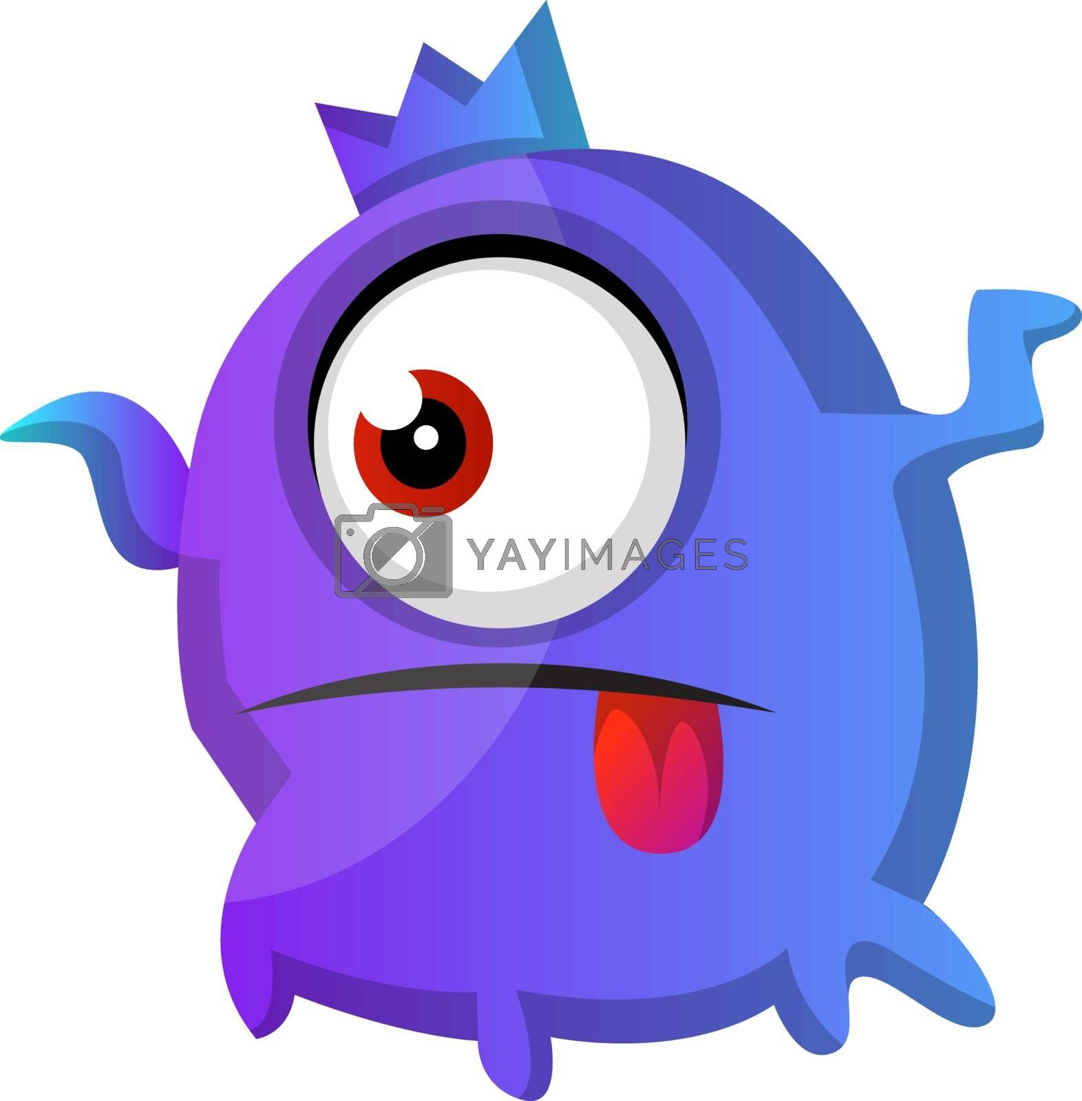 Royalty free image of One eyed purple monster with tongue out illustration vector on w by Morphart