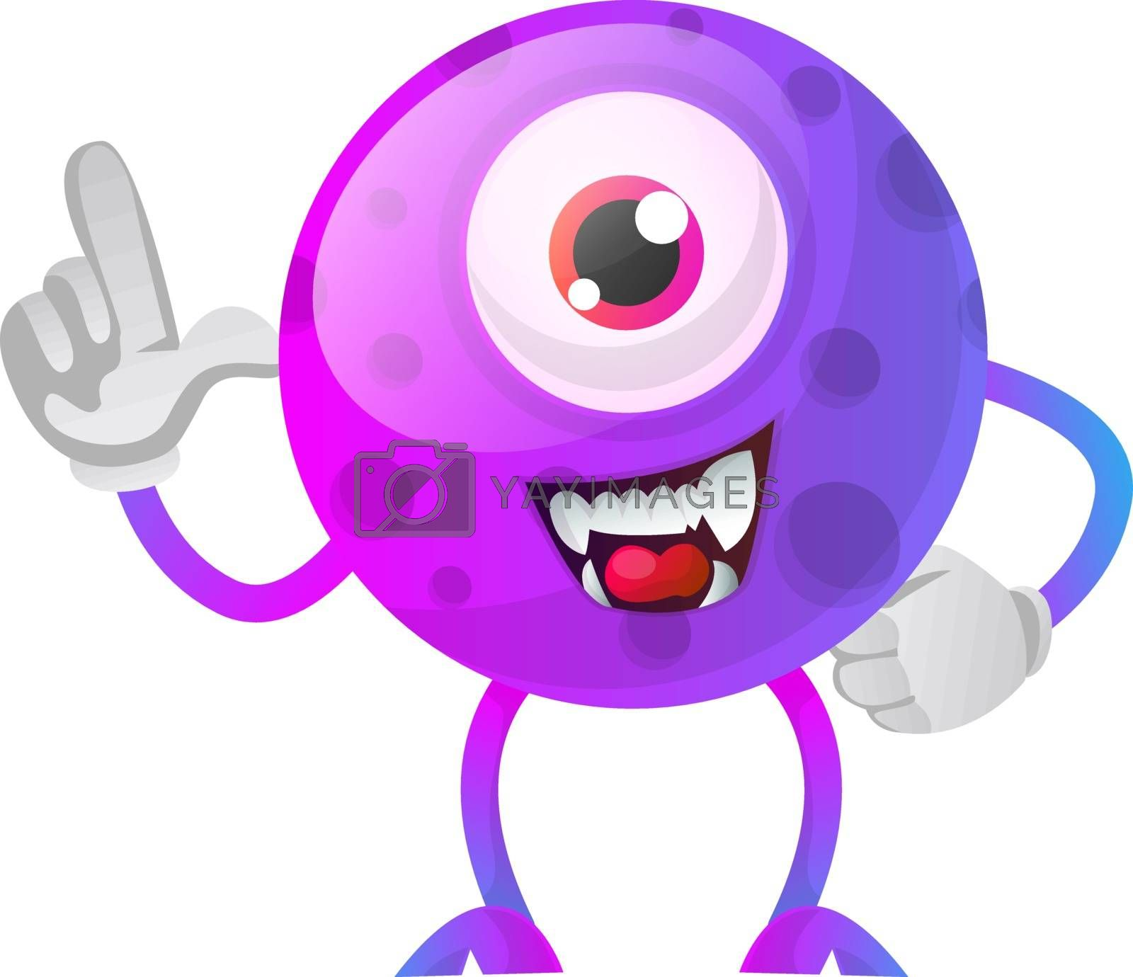 Royalty free image of Purple monster showing wtih his hand illustration vector on whit by Morphart