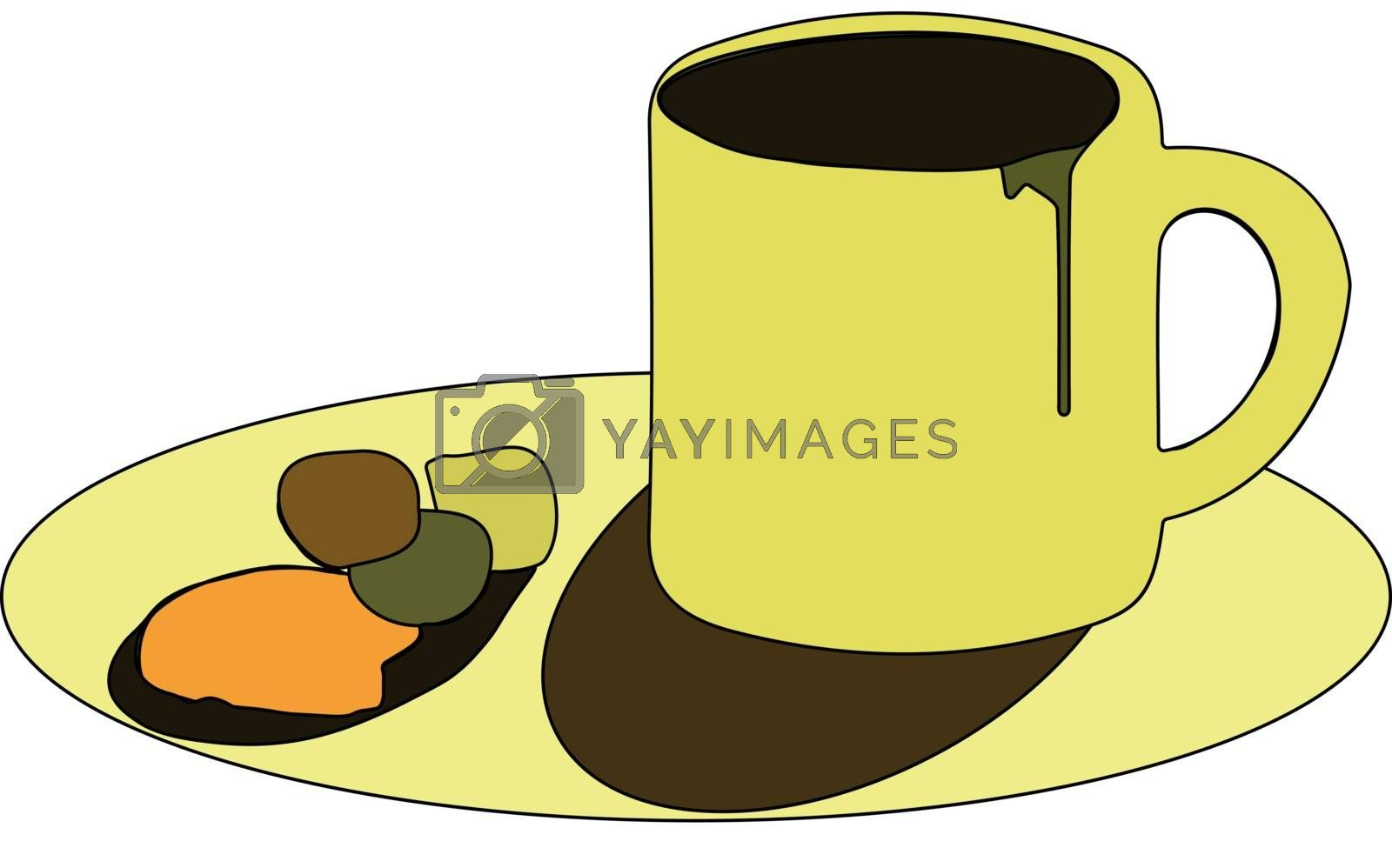 Royalty free image of Clipart of yellow-colored coffee cup and saucer vector or color  by Morphart