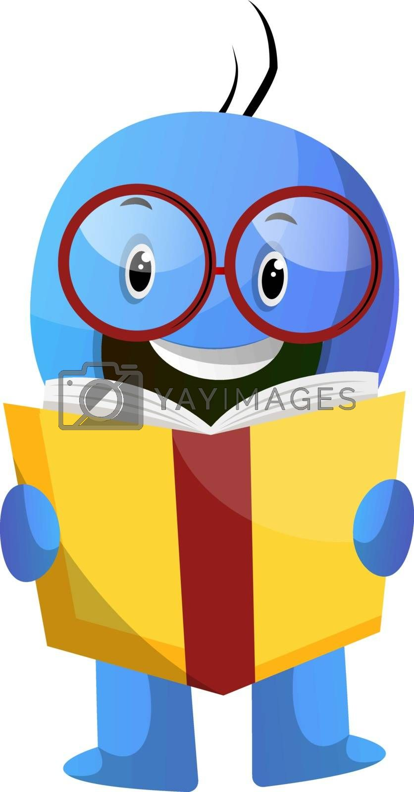 Royalty free image of Blue cartoon caracter with book and glasses illustration vector  by Morphart