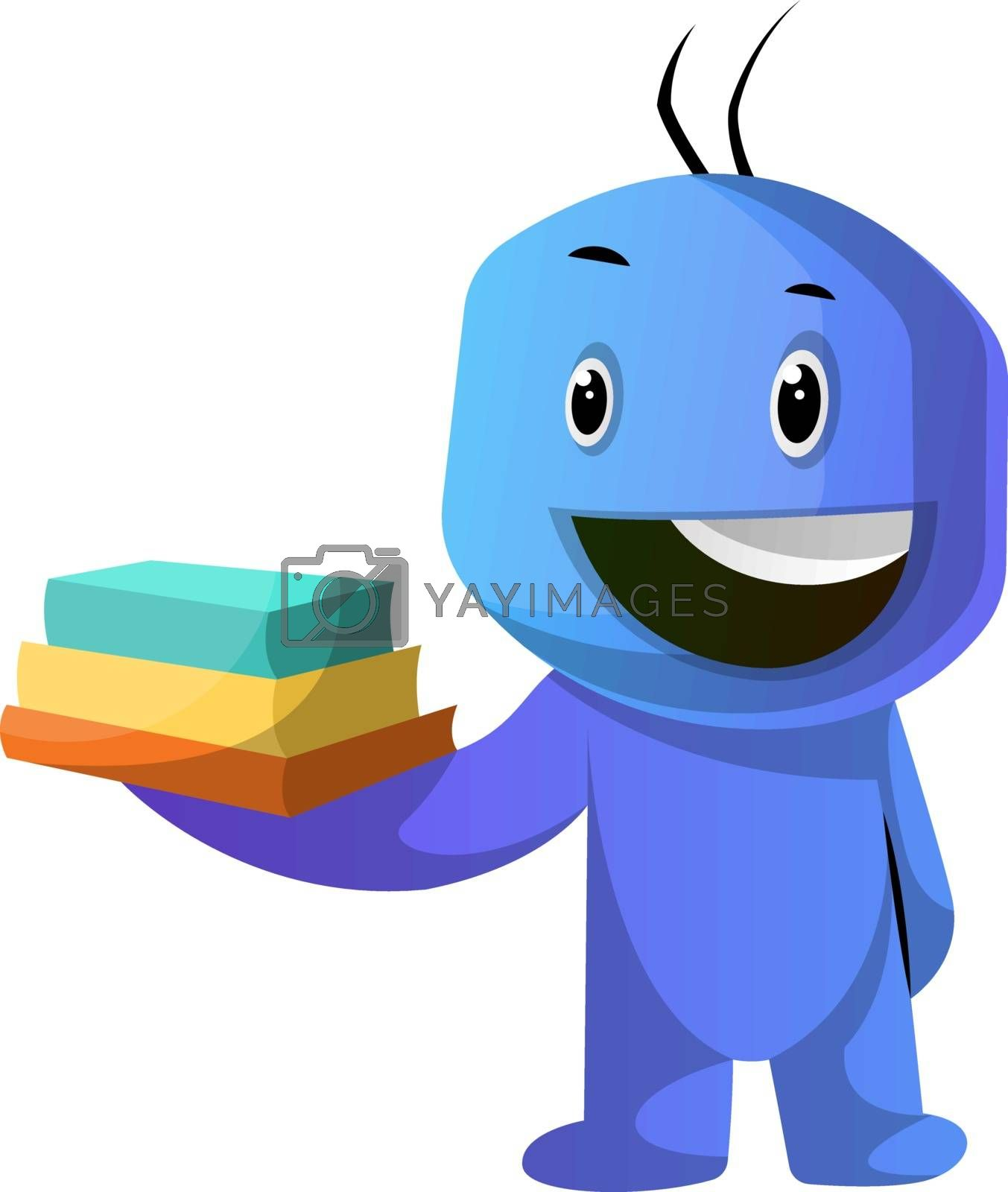 Royalty free image of Blue cartoon caracter holding books illustration vector on white by Morphart