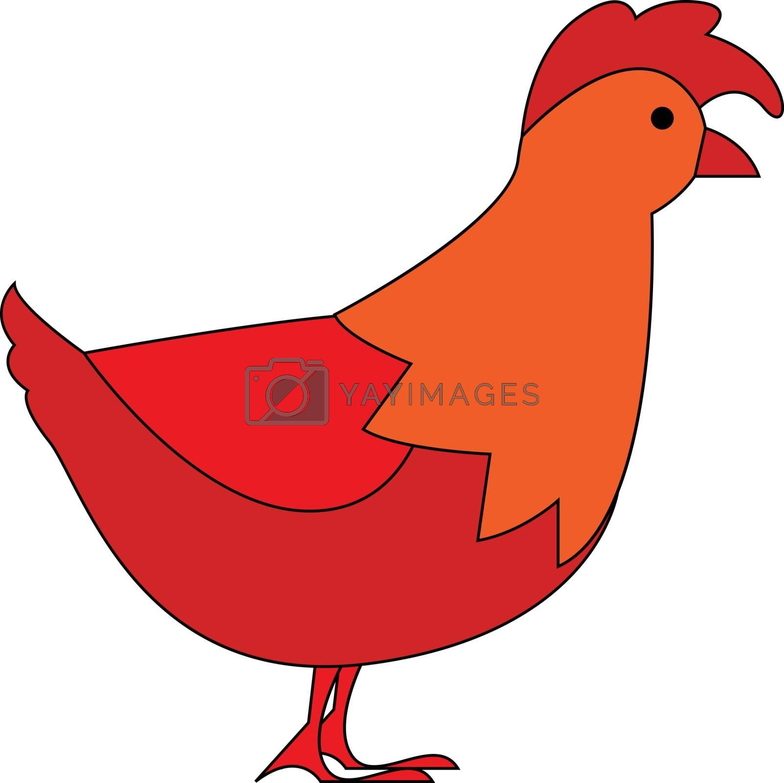Royalty free image of Red orange hen facing right illustration vector on white backgro by Morphart