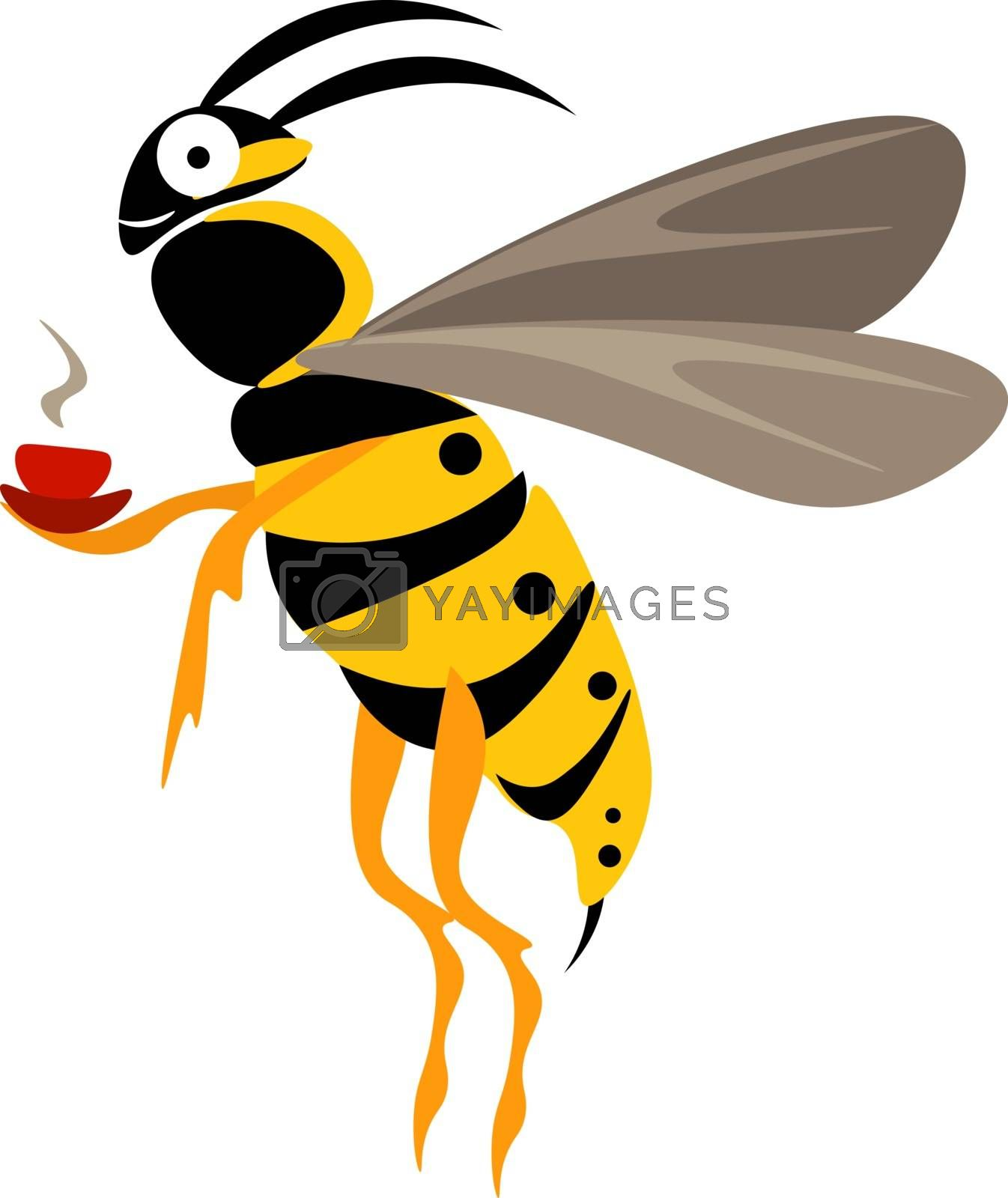Royalty free image of Cute little wasp holding a steaming cup of coffee looks funny ve by Morphart