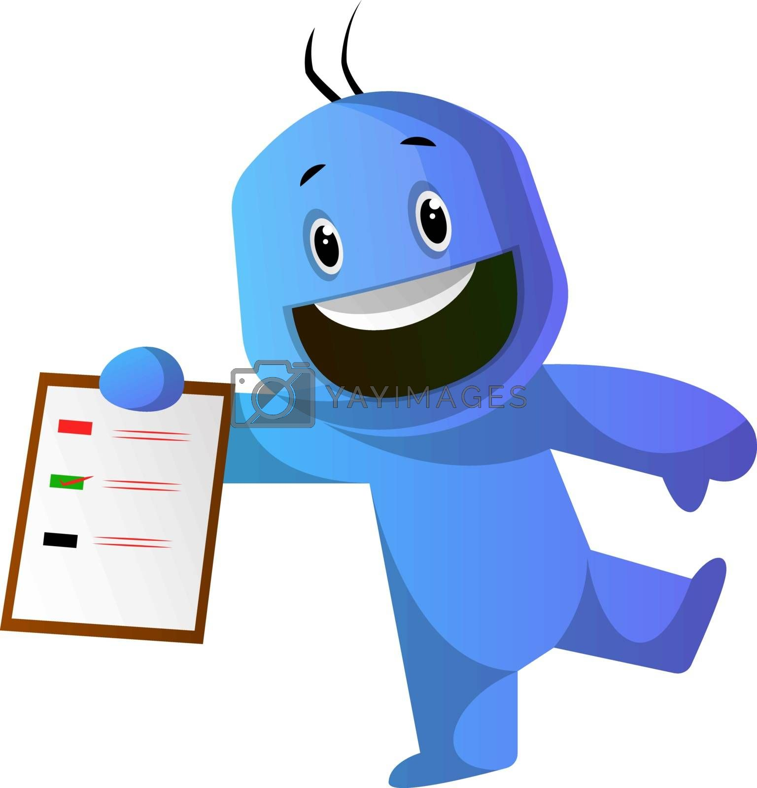Royalty free image of Smiling blue cartoon caracter with a notepad illustration vector by Morphart