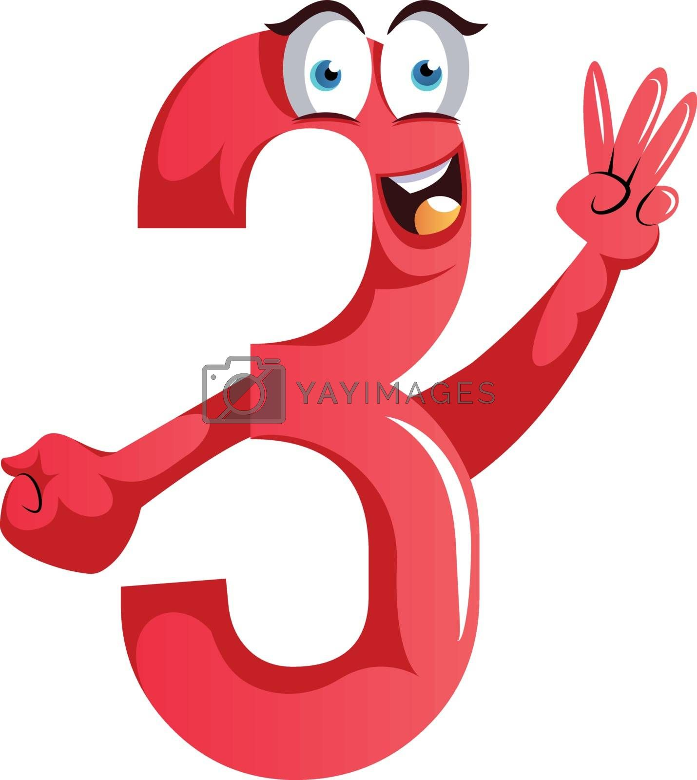 Royalty free image of Number three monster showing three fingers illustration vector o by Morphart