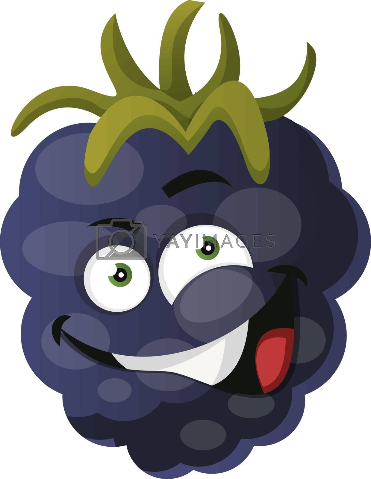 Royalty free image of Crazy mulberry monster laughing illustration vector on white bac by Morphart