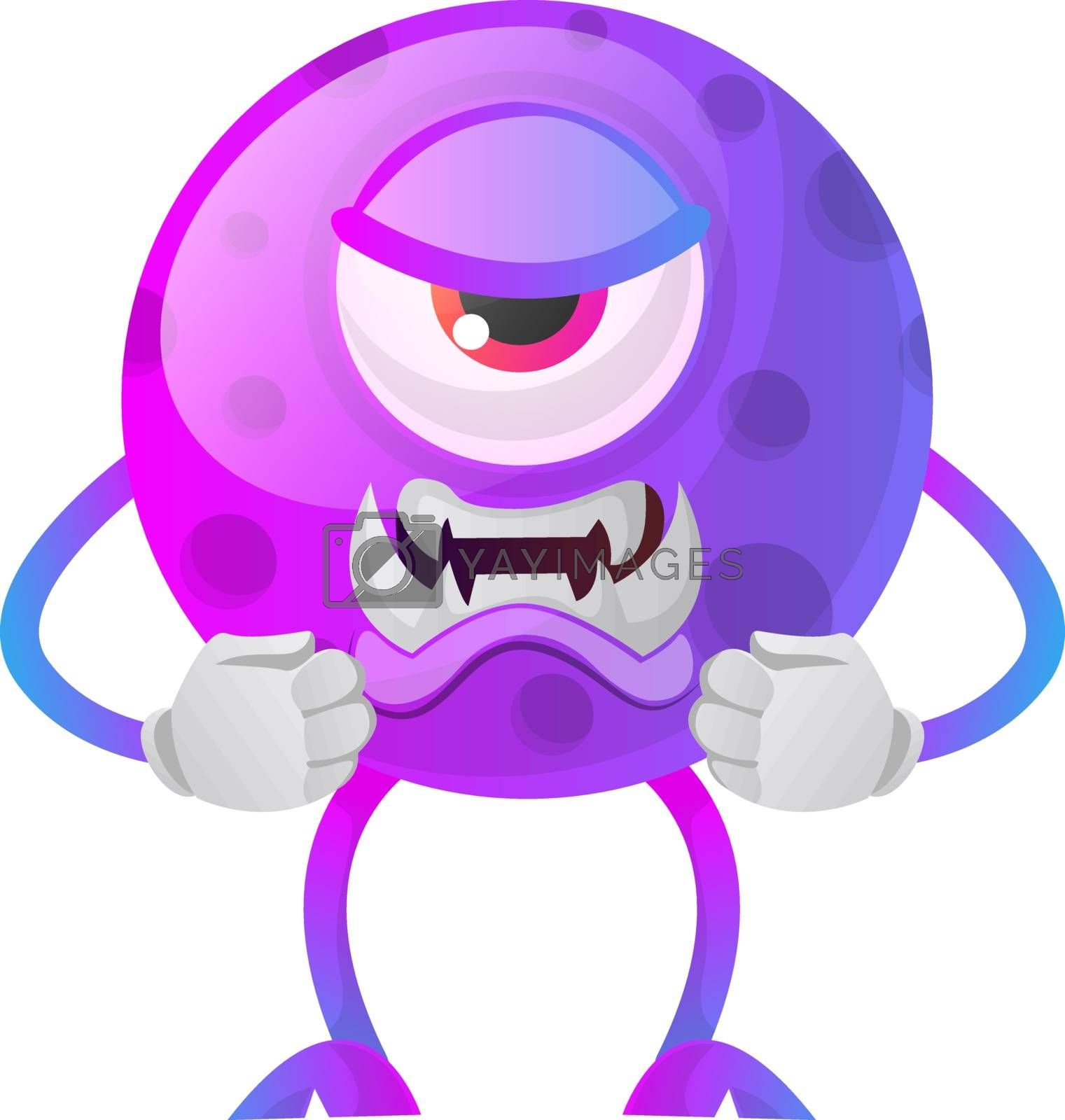 Royalty free image of Angry purple monster illustration vector on white background by Morphart