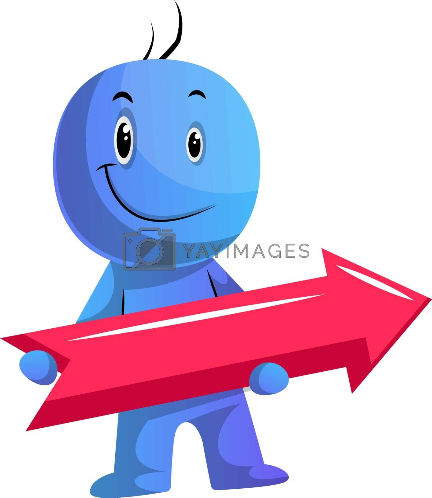 Royalty free image of Blue cartoon caracter with red direction sign illustration vecto by Morphart
