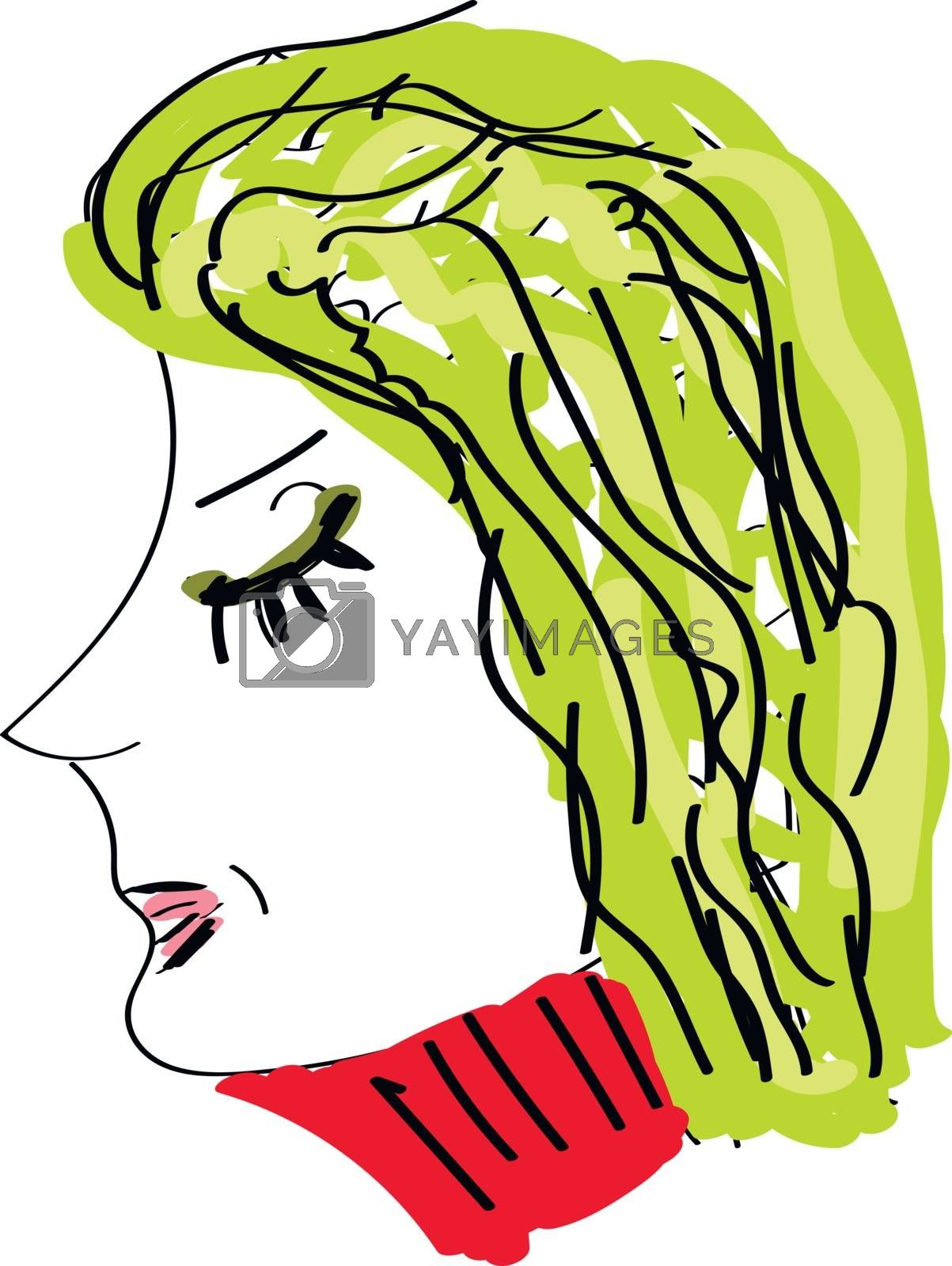 Royalty free image of Portrait of a woman in different colors viewed from side set on  by Morphart
