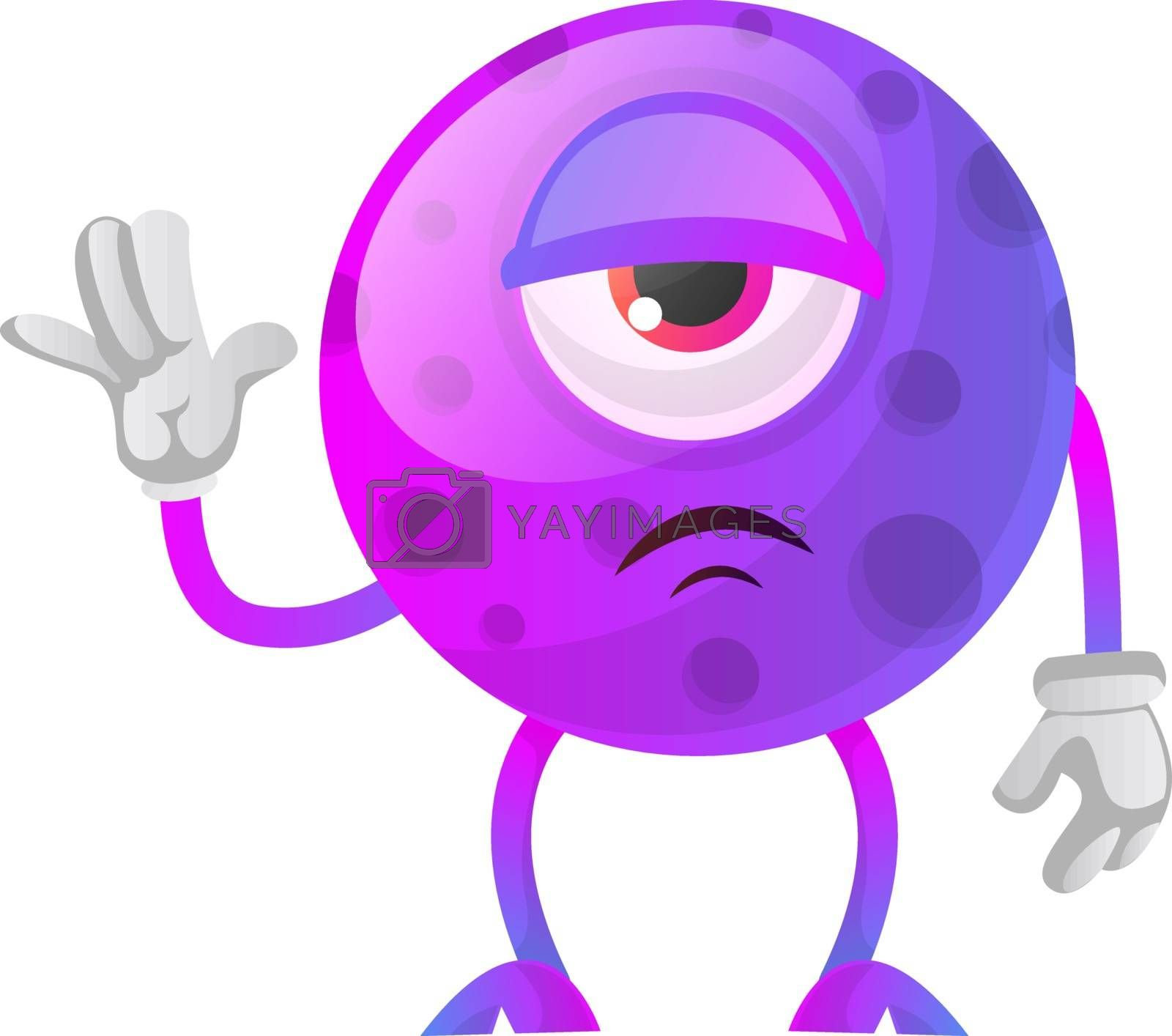 Royalty free image of Depressed monster saying hello illustration vector on white back by Morphart