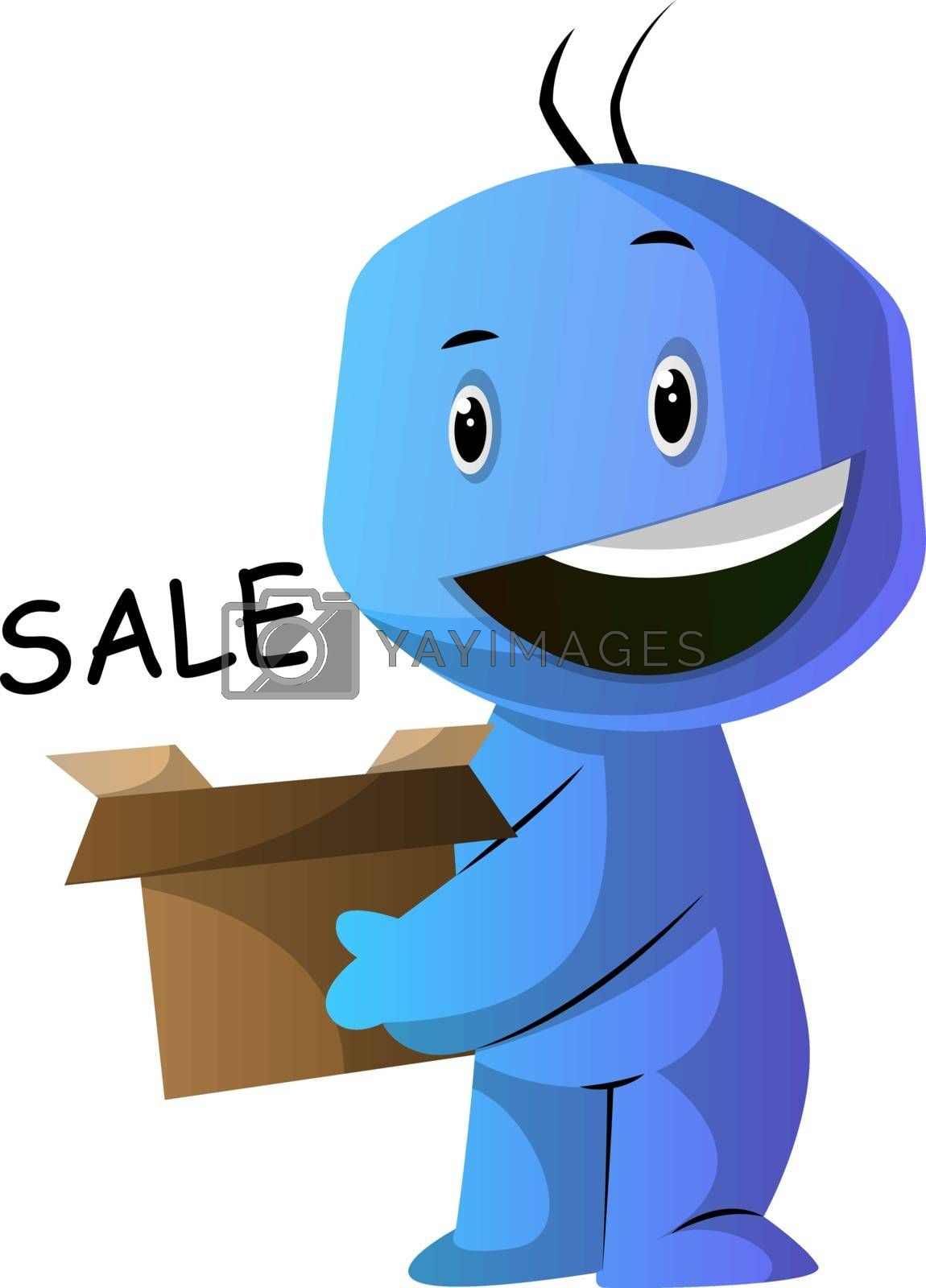 Royalty free image of Blue cartoon caracter happy in shoping illustration vector on wh by Morphart