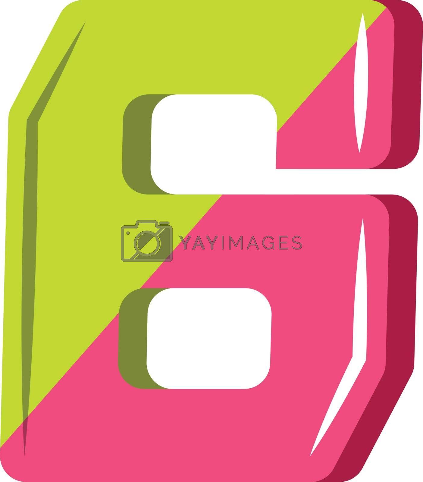 Royalty free image of Number six in green and yellow illustration vector on white back by Morphart