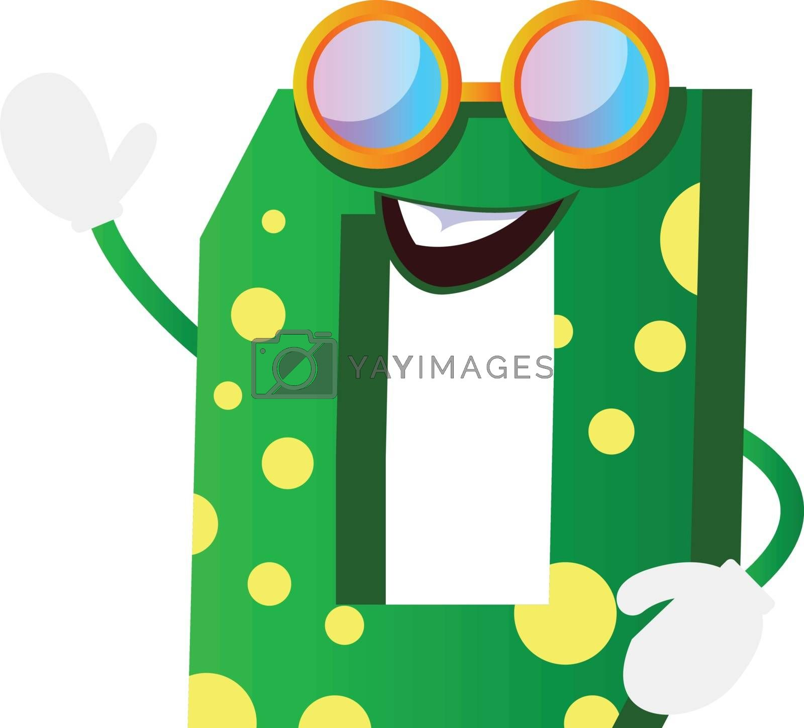 Royalty free image of Green monster in number zero shape with glasses illustration vec by Morphart
