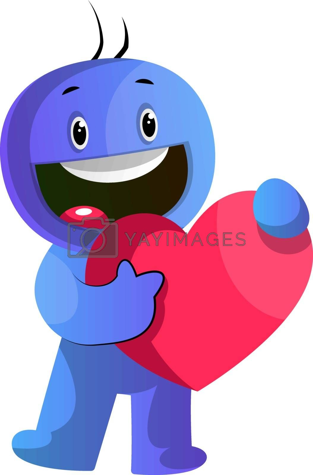 Royalty free image of Blue cartoon caracter holding a big red heart illustration vecto by Morphart