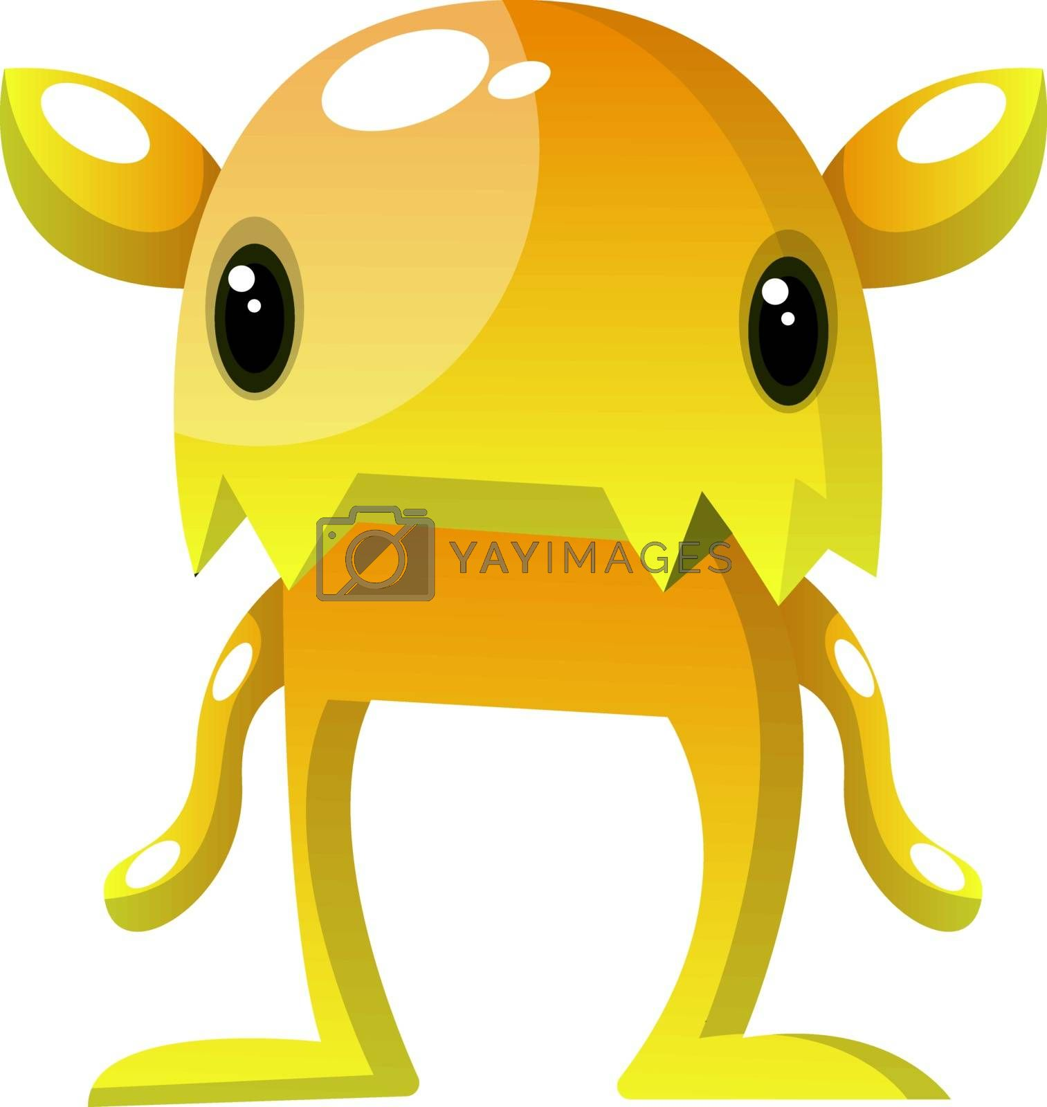 Royalty free image of Yellow monster with small eyes illustration vector on white back by Morphart
