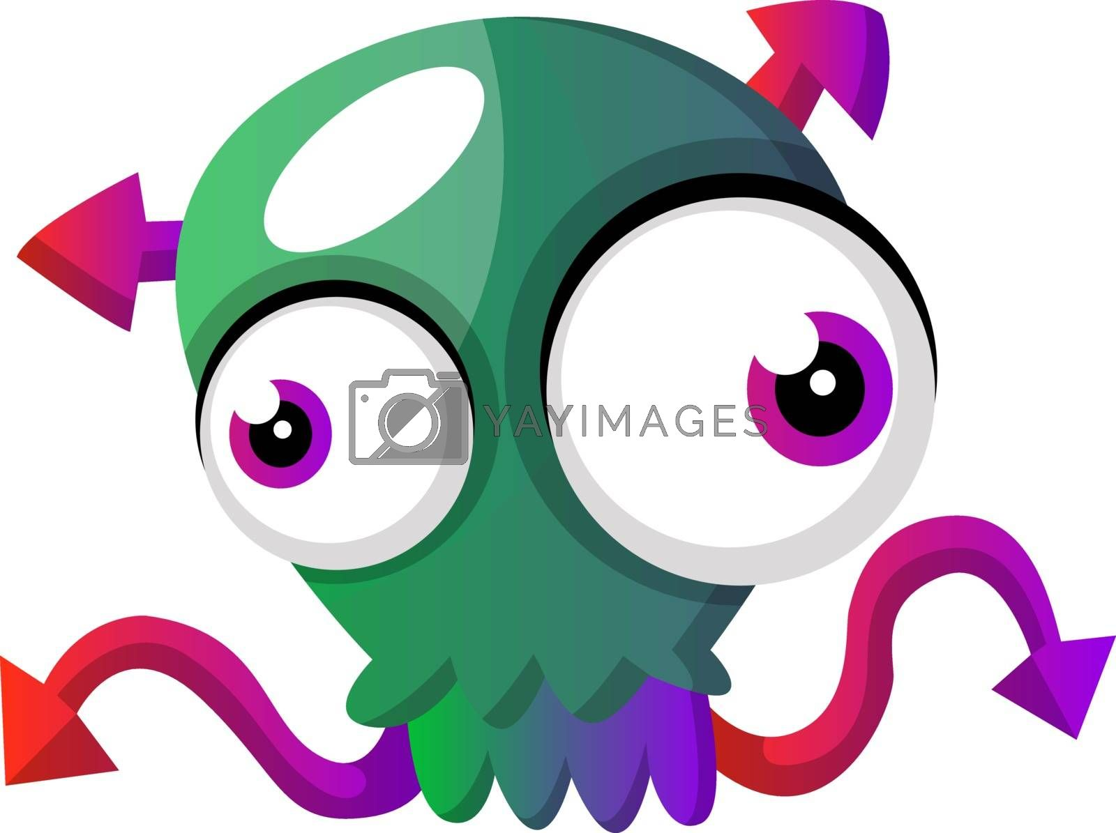 Royalty free image of Skull shaped green meduza illustration vector on white backgroun by Morphart