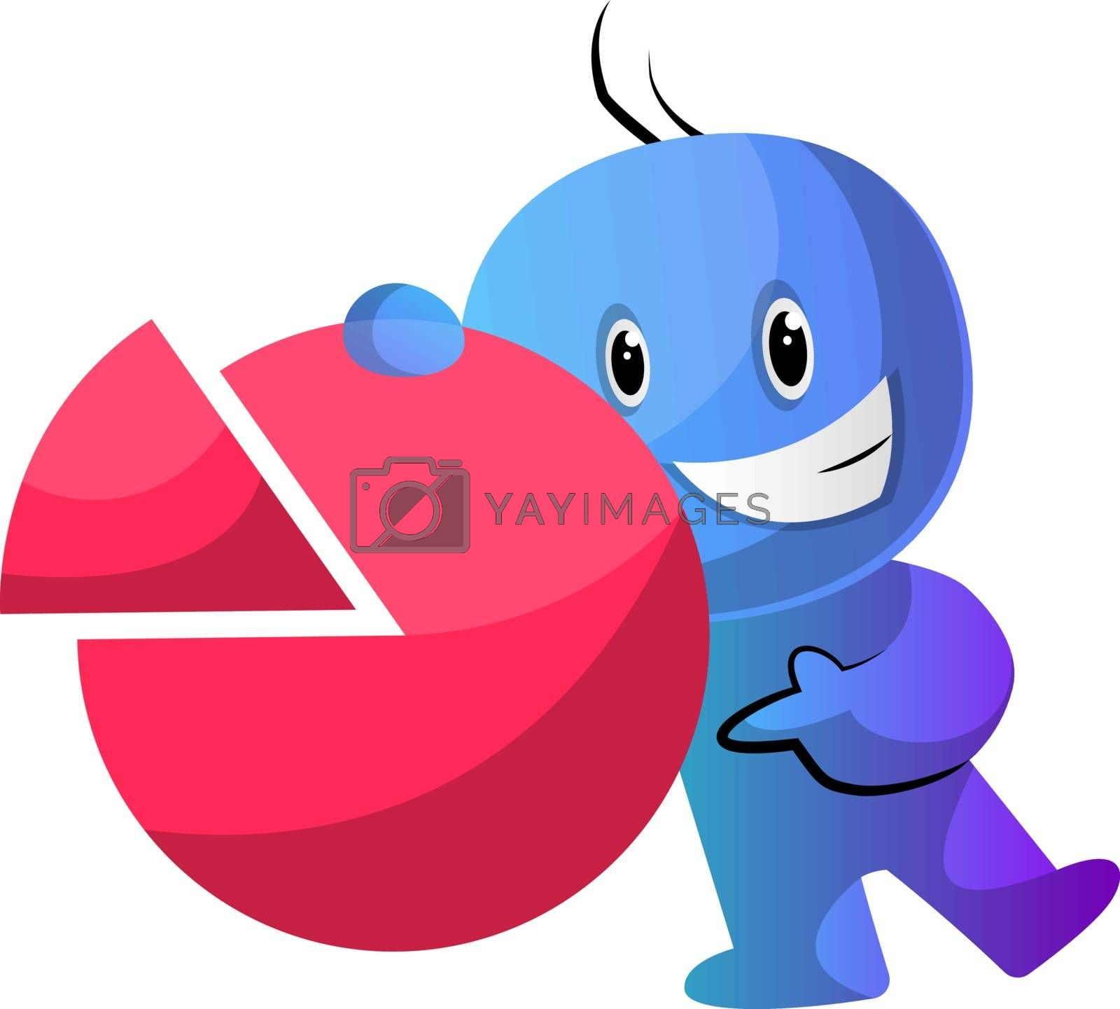 Royalty free image of Blue cartoon caracter with a statistic sign illustration vector  by Morphart