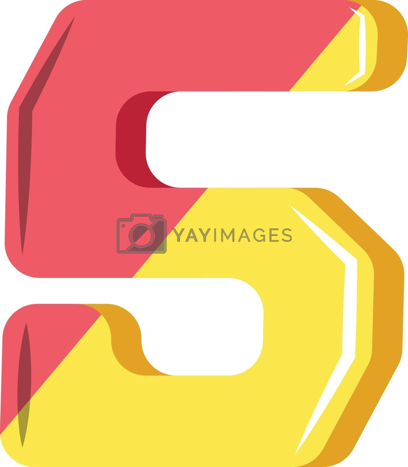 Royalty free image of Number five in pink and yellow illustration vector on white back by Morphart