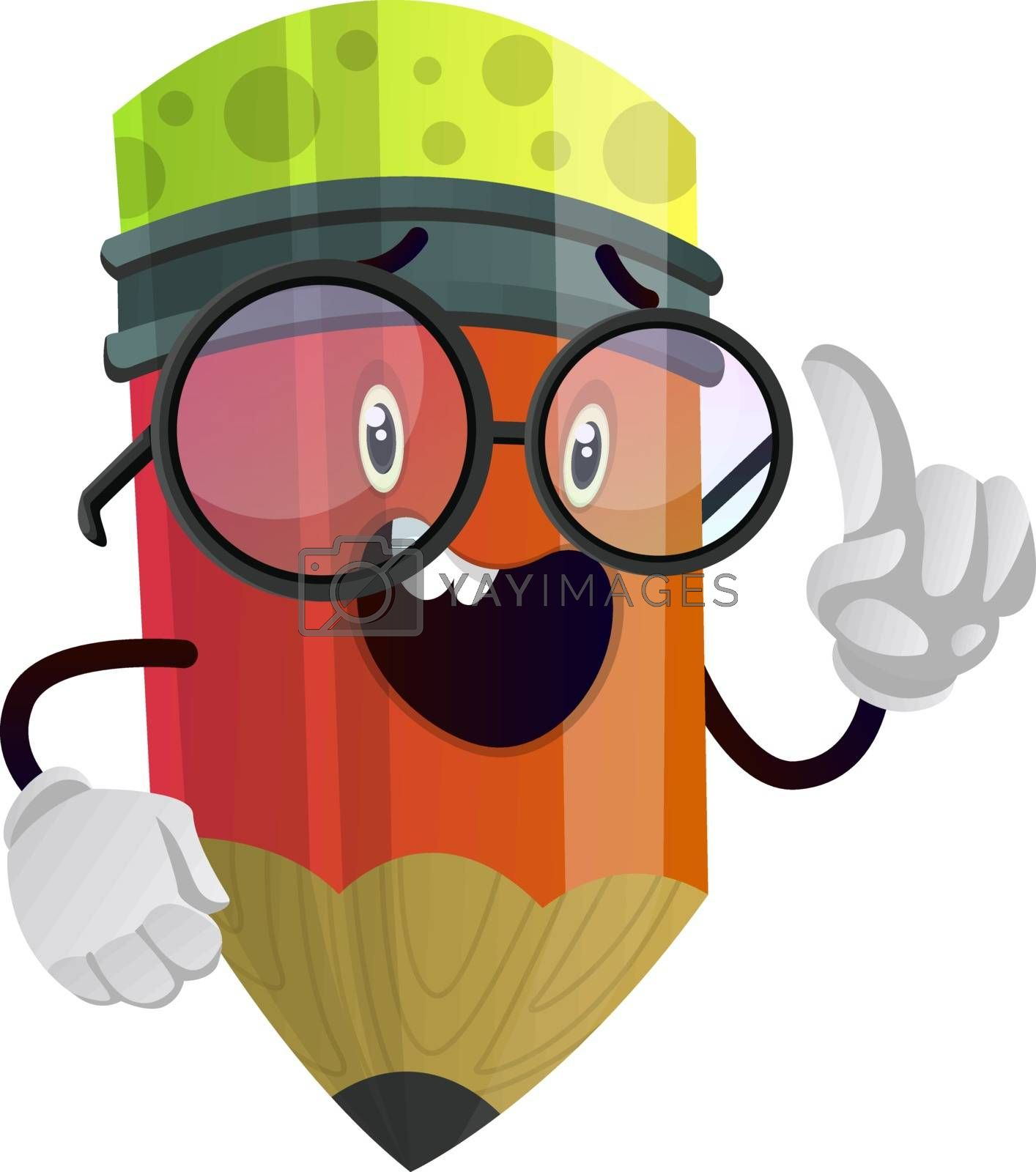 Royalty free image of Red pencil looks like he has something to say illustration vecto by Morphart