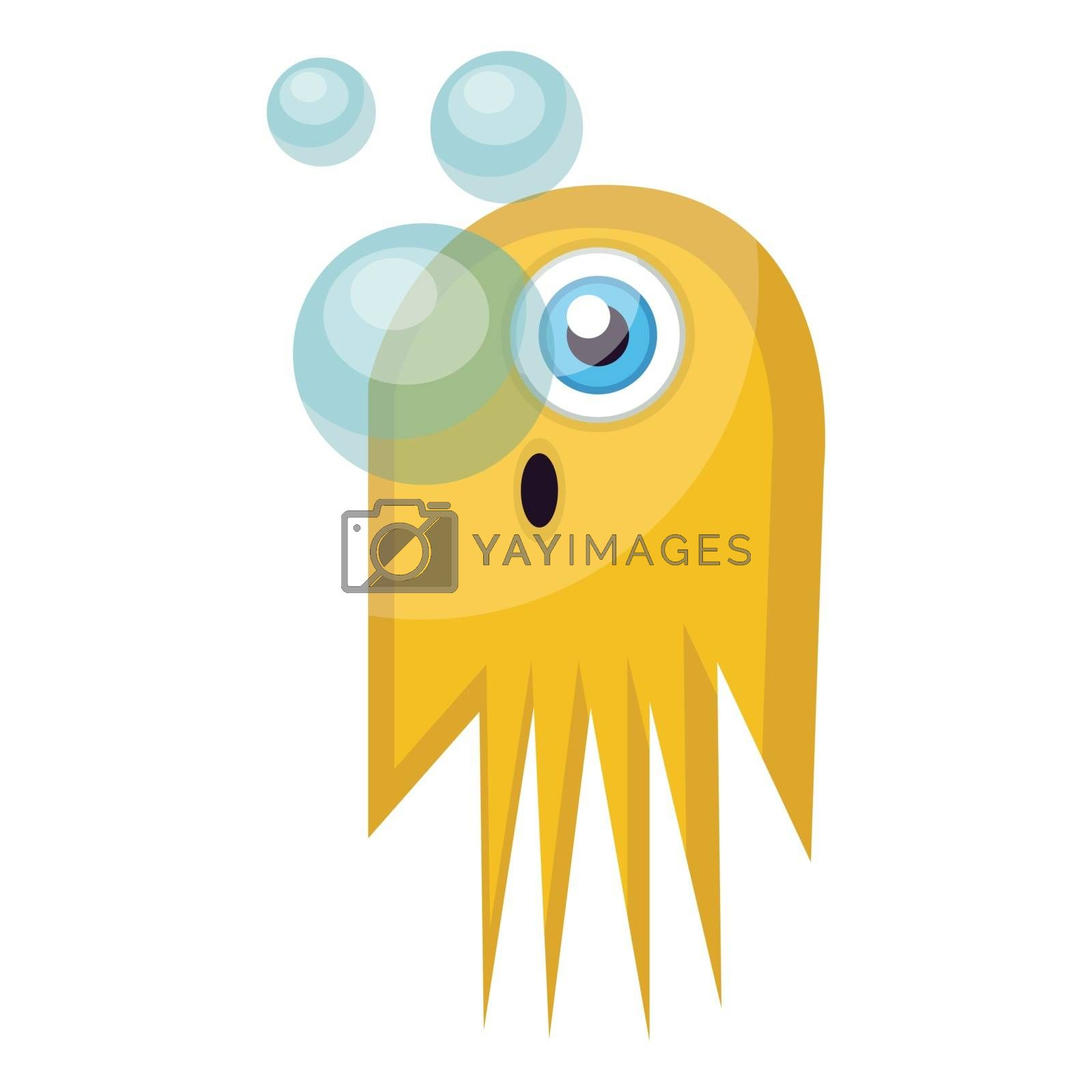 Royalty free image of Yellow monster releasing air bubblesvector emoji illustration on by Morphart
