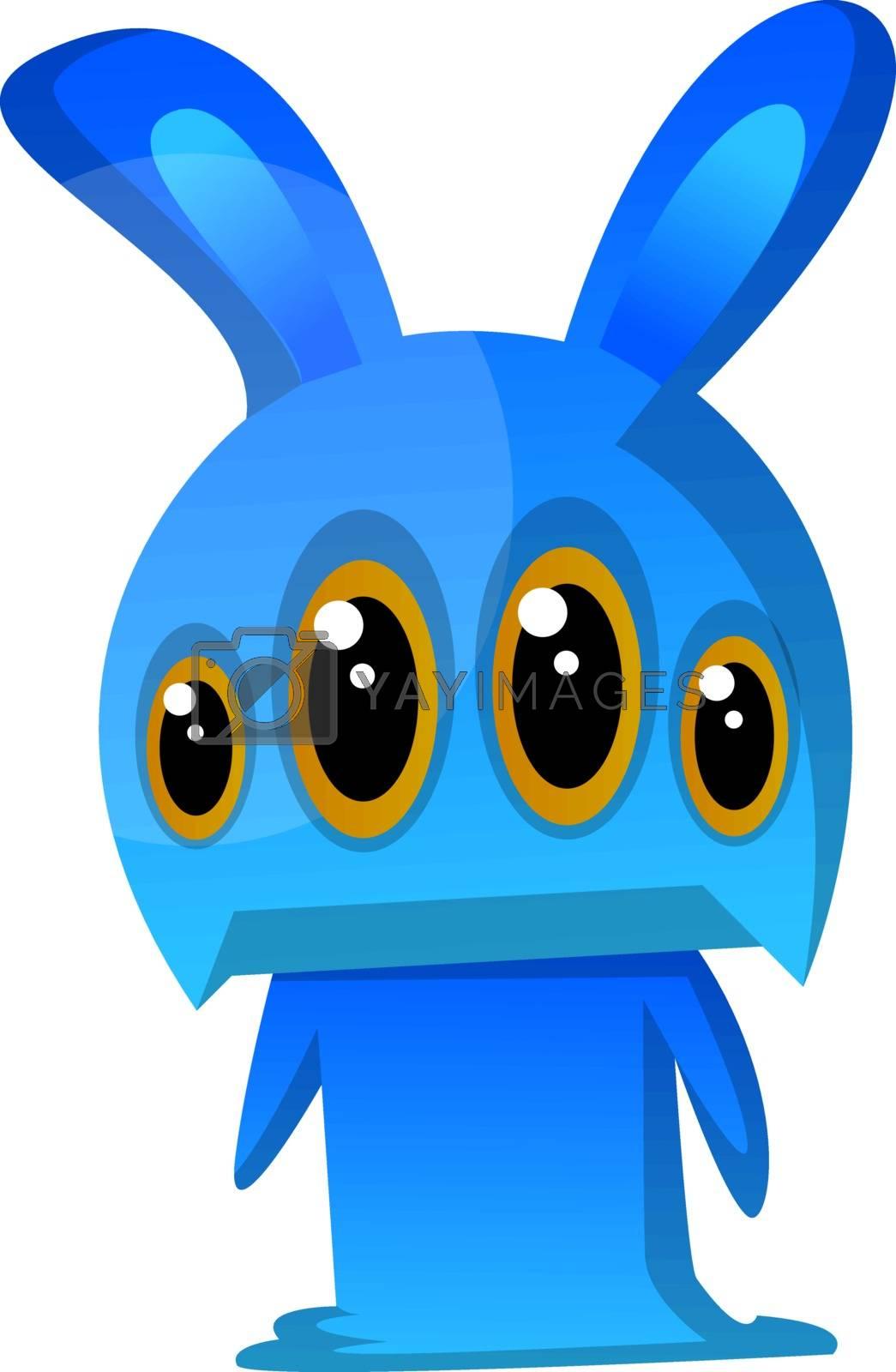 Royalty free image of Four-eyed blue rabbit monster illustration vector on white backg by Morphart