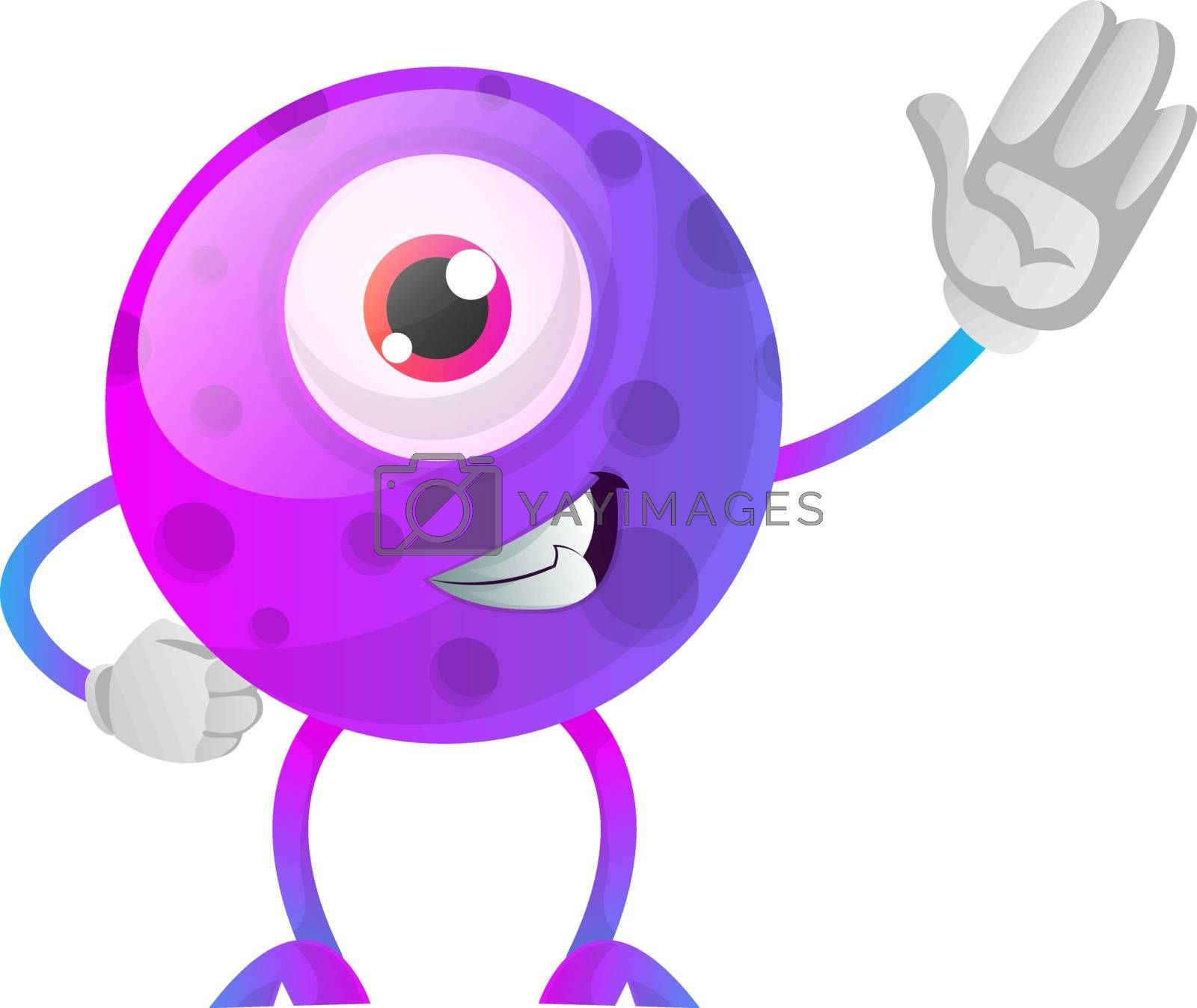 Royalty free image of One eyed purple monster waving illustration vector on white back by Morphart