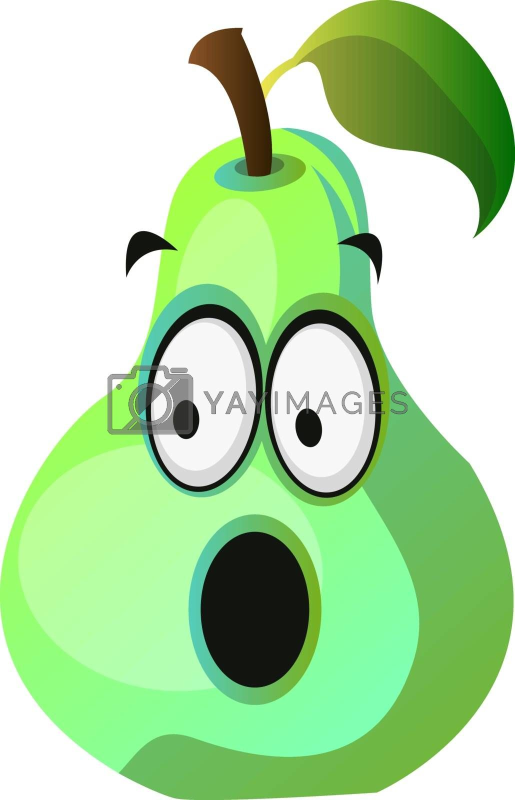 Royalty free image of Amazed pear cartoon face illustration vector on white background by Morphart