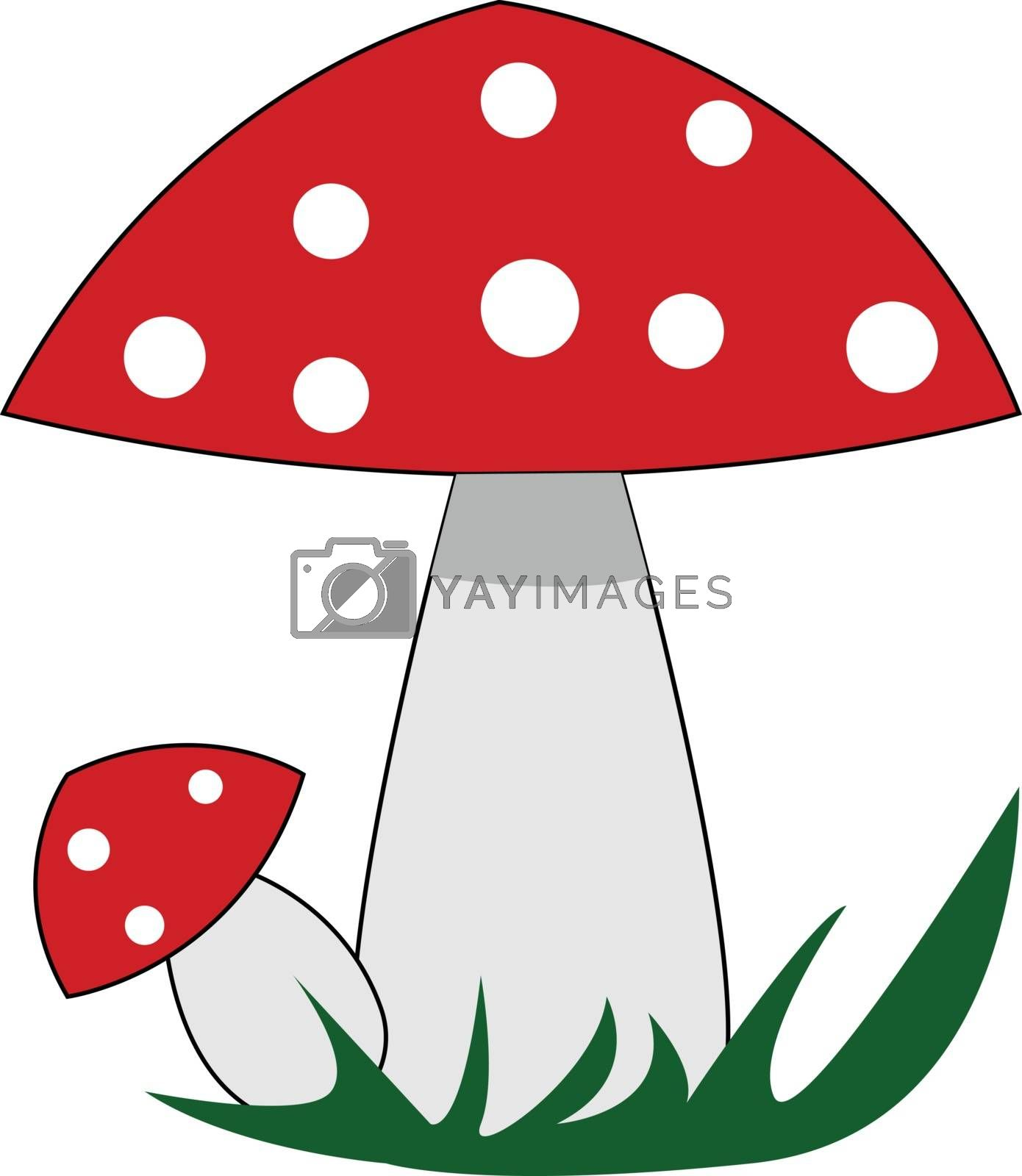Royalty free image of Red mushrooms with white polka dots illustration vector on white by Morphart