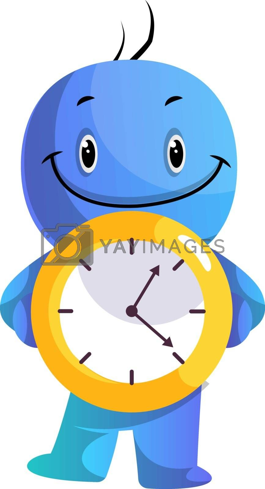 Royalty free image of Blue cartoon caracter holding yellow clock illustration vector o by Morphart