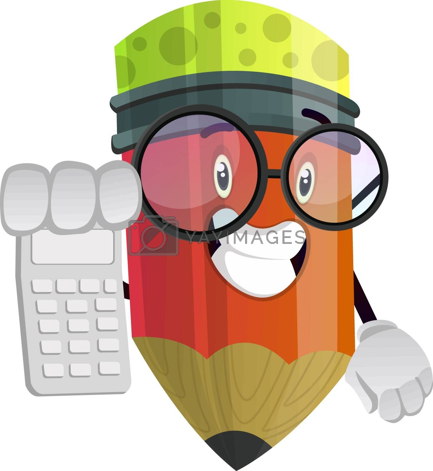 Royalty free image of Red pencil holding calculator in his right hand illustration vec by Morphart