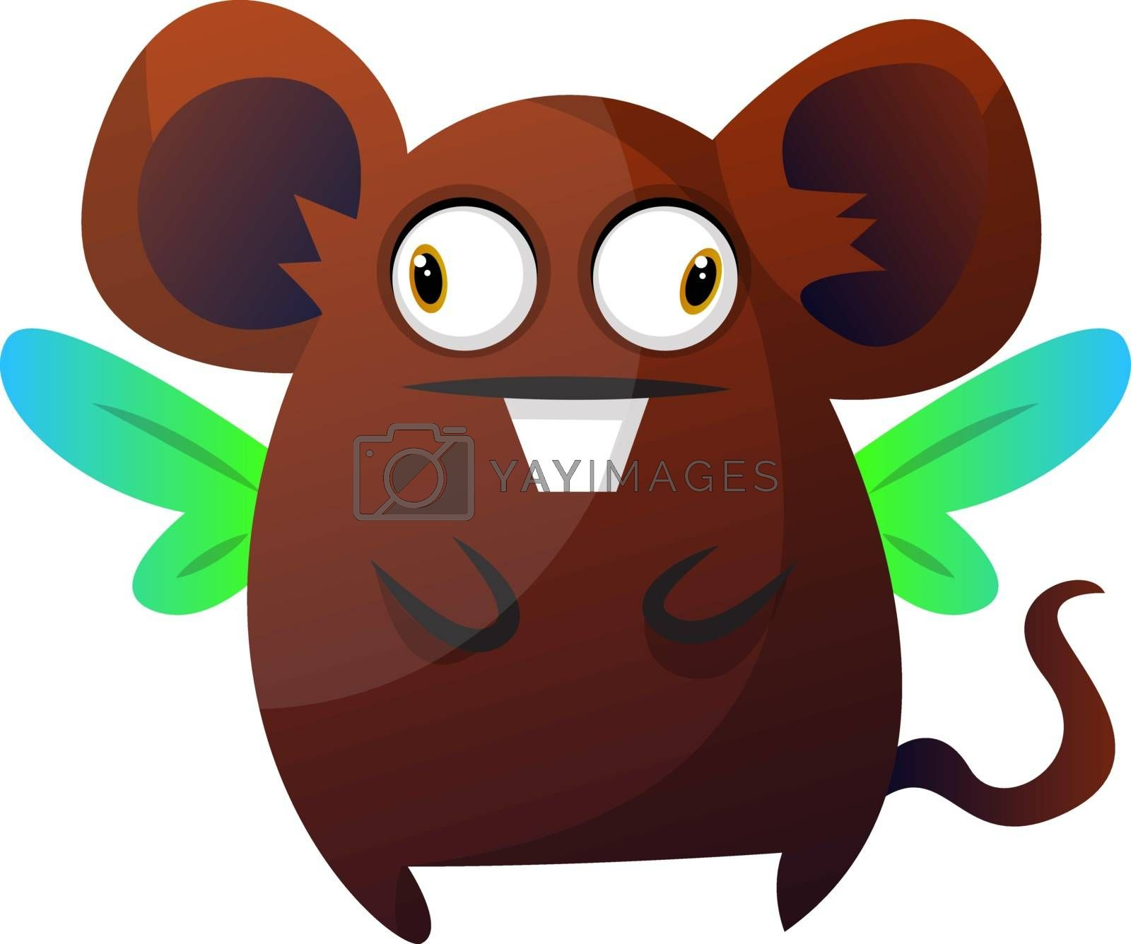 Royalty free image of Brown rat monster with wings illustration vector on white backgr by Morphart