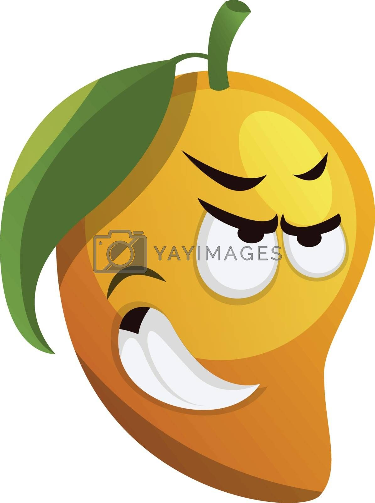 Royalty free image of Angry mango with green leaf illustration vector on white backgro by Morphart