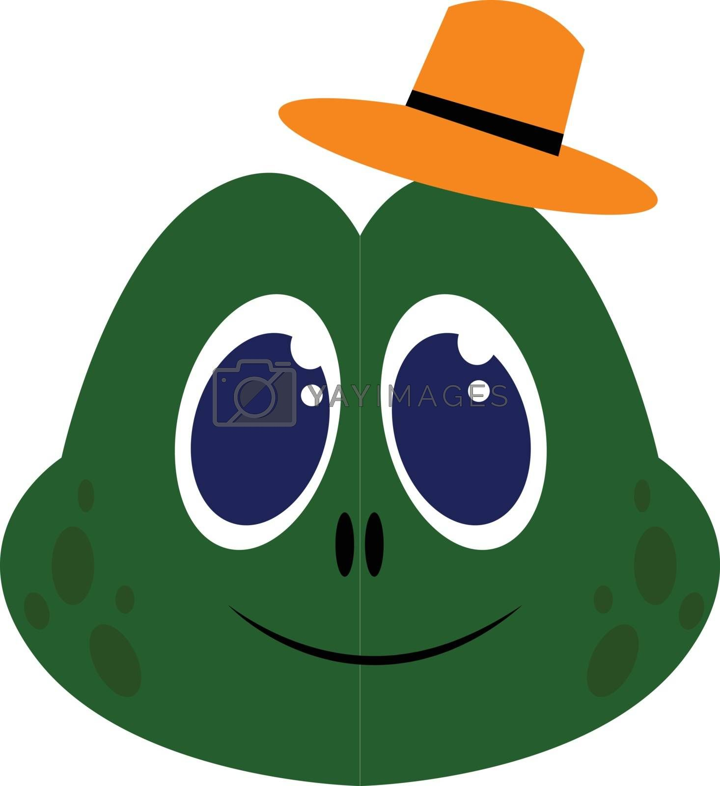 Royalty free image of Green frog with orange hat and blue eyes illustration vector on  by Morphart