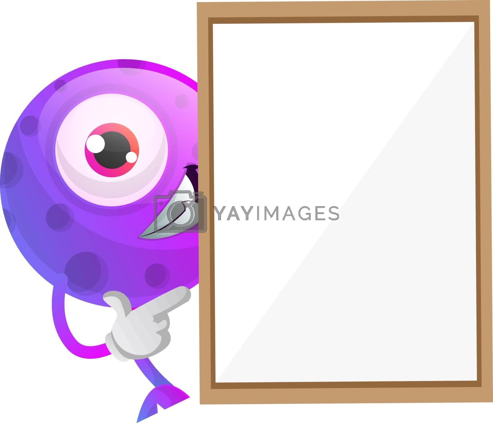Royalty free image of One eyed purple monster hiding behind a paper panel illustration by Morphart